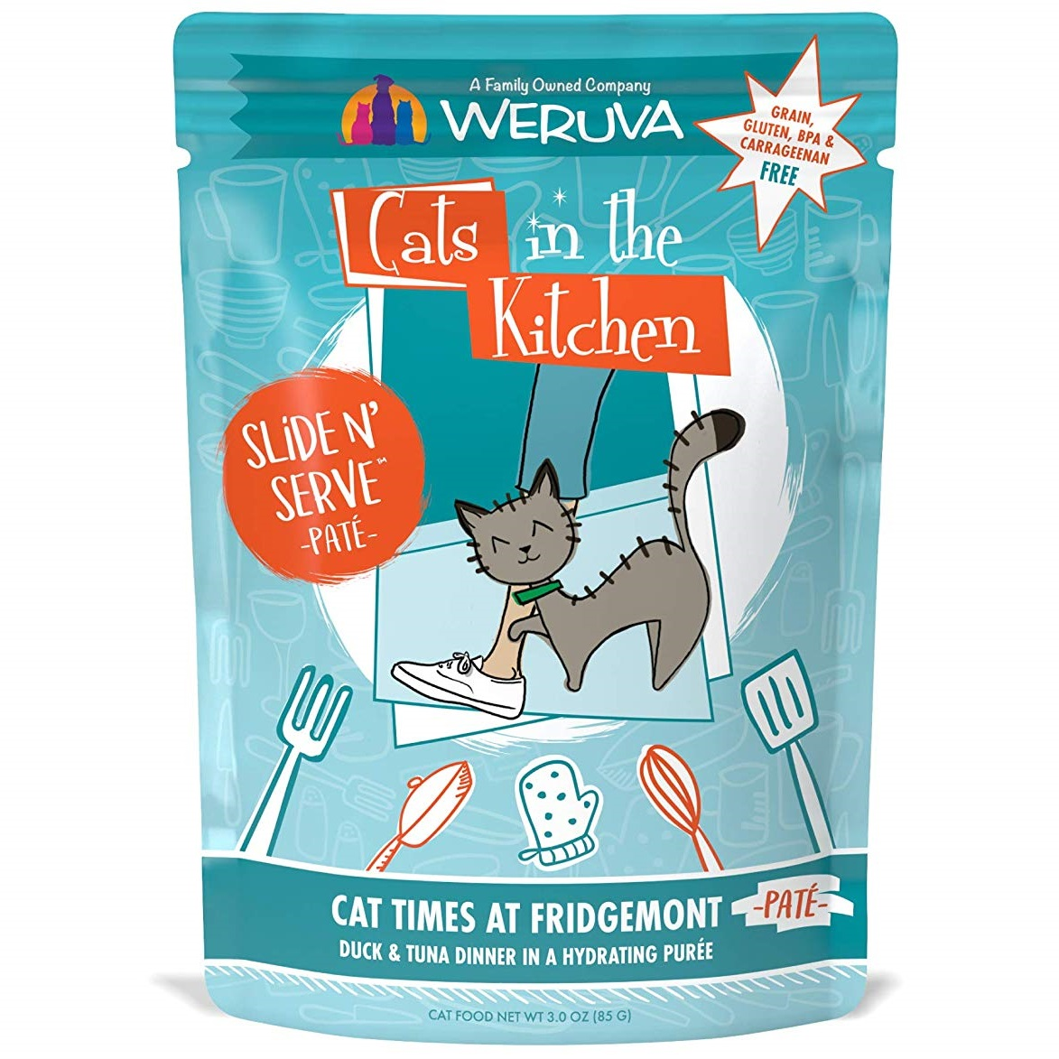 Weruva Cats In The Kitchen Pate Cat Times at Fridgemont Duck & Tuna Dinner in Puree Grain-Free Wet Cat Food, 3-oz pouch