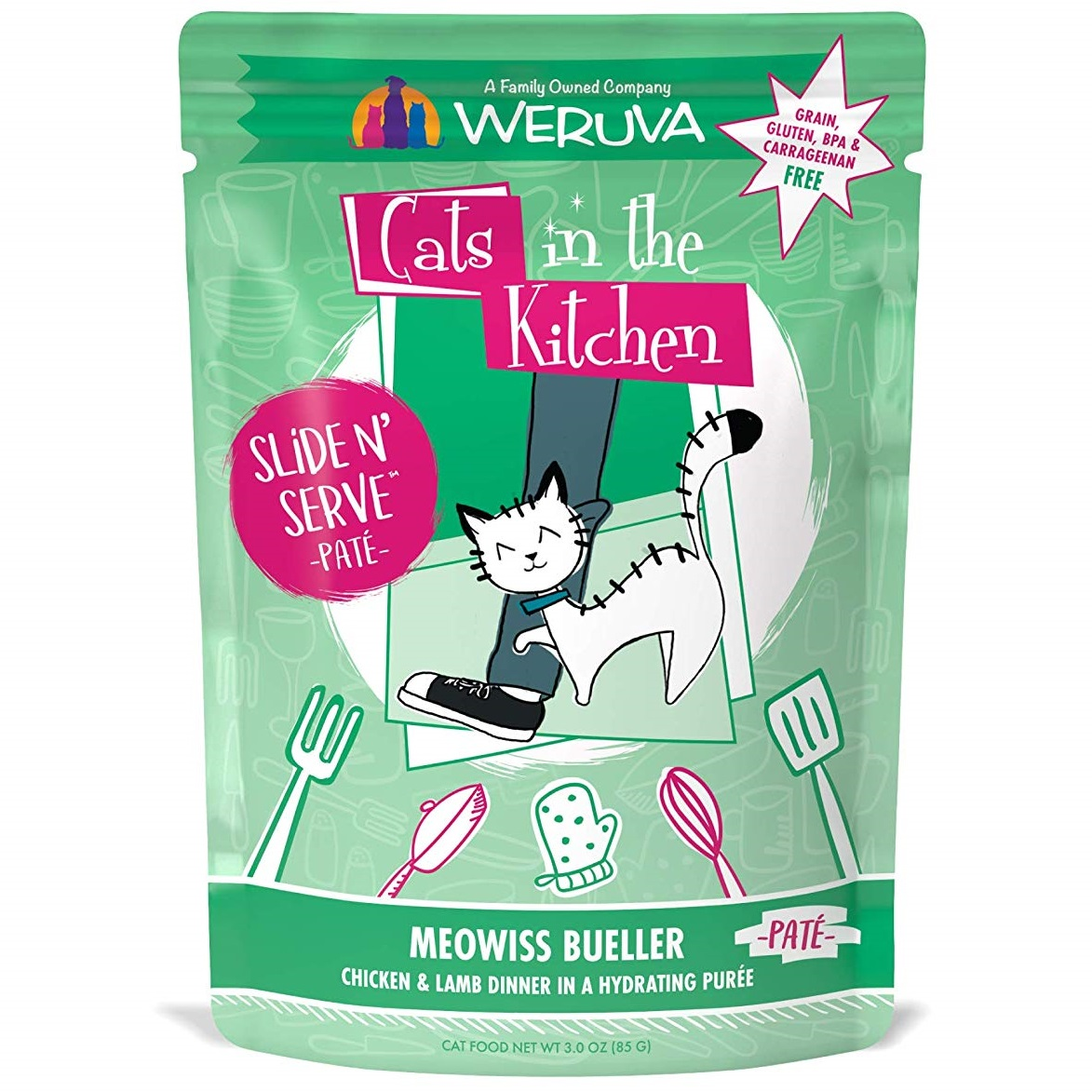 Weruva Cats In The Kitchen Pate Meowiss Bueller Chicken & Lamb Dinner in Puree Grain-Free Wet Cat Food, 3-oz pouch
