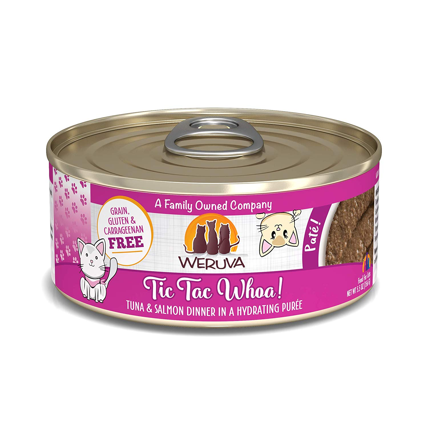 Weruva Cat Pate Tic Tac Whoa! Tuna & Salmon Dinner in Puree Wet Cat Food, 5.5-oz can