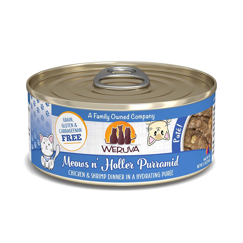 Weruva Cat Pate Meows n' Holler PurrAmid Chicken & Shrimp Dinner in Puree Wet Cat Food, 5.5-oz can