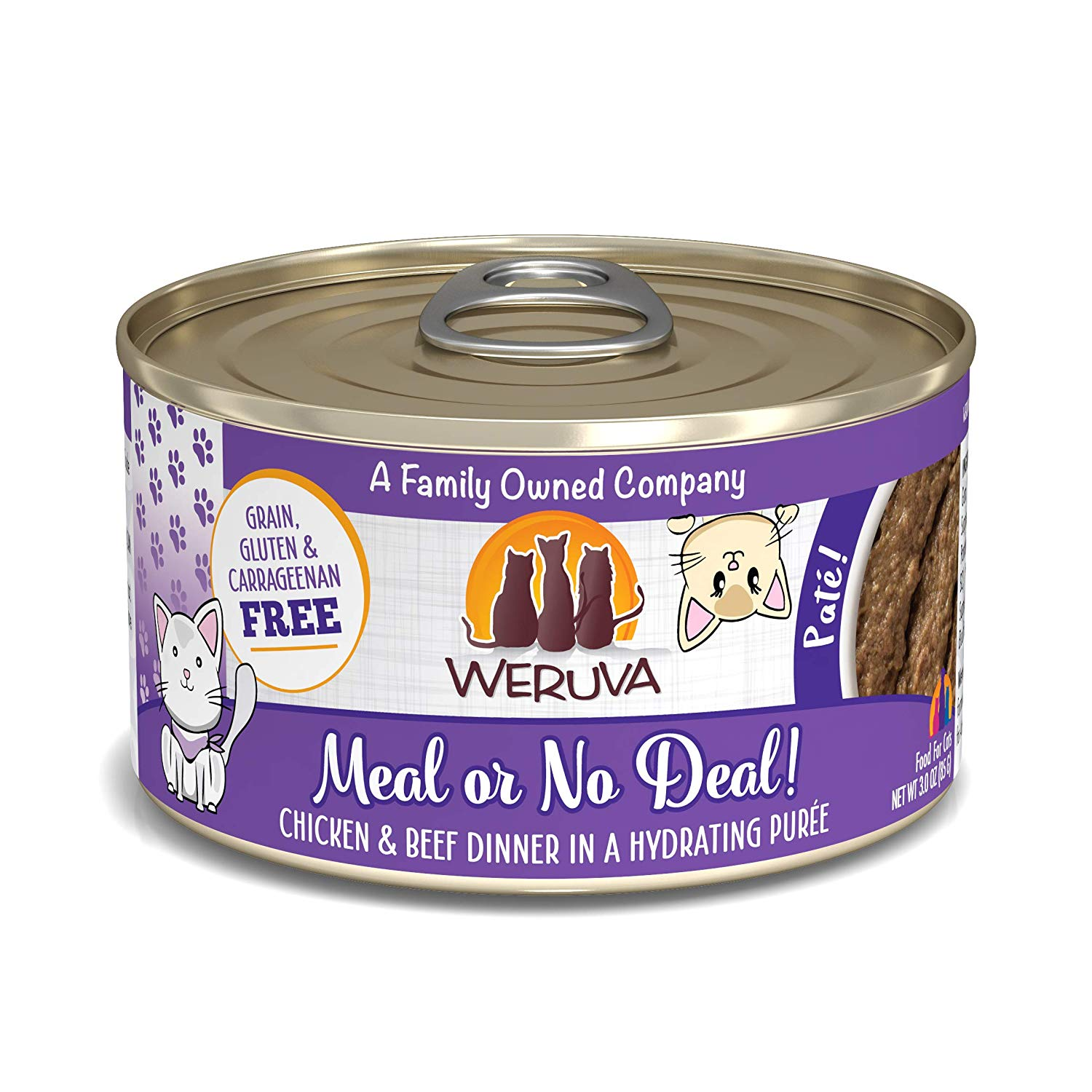 Weruva Cat Pate Meal or No Deal! Chicken & Beef Dinner in Puree Wet Cat Food, 3-oz can