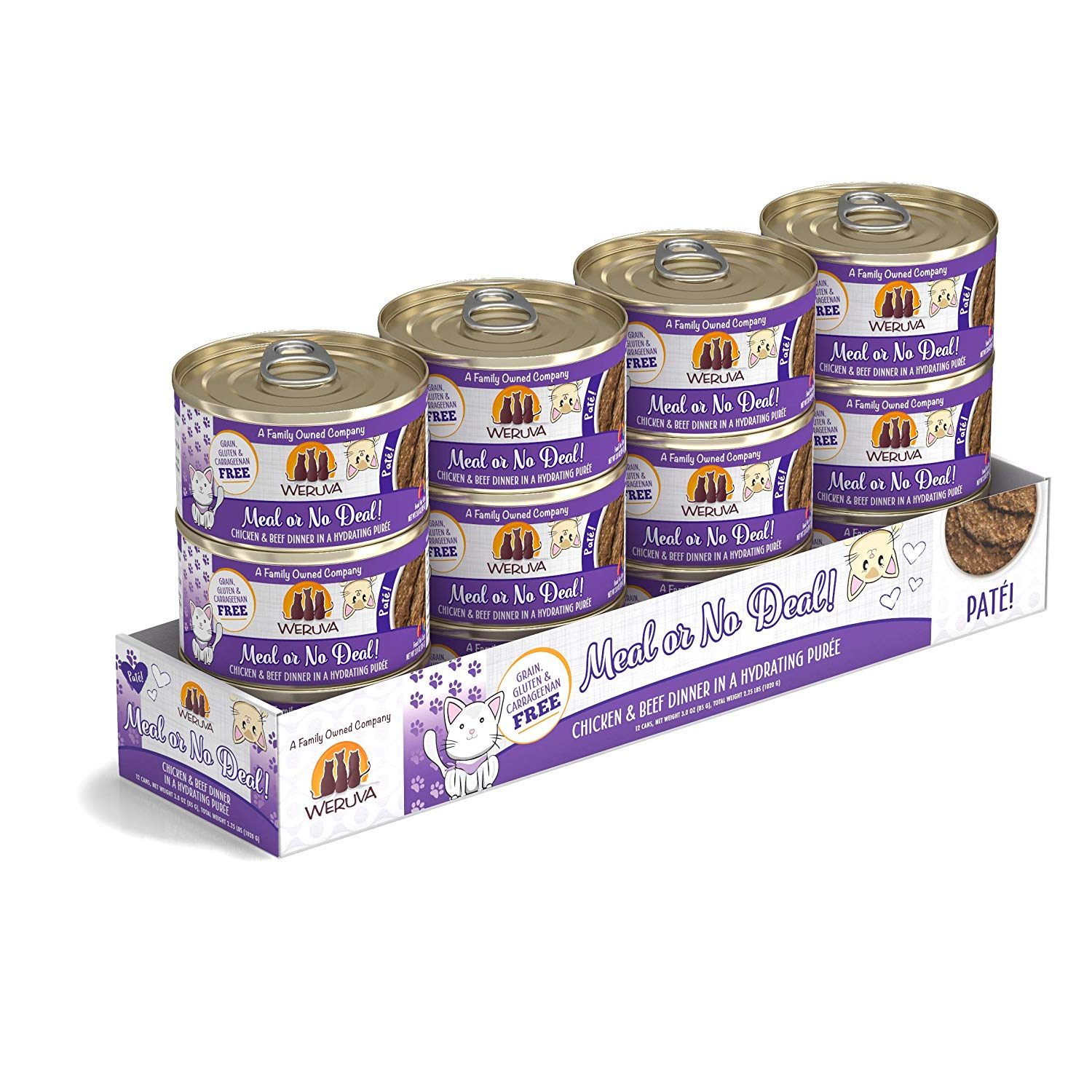 Weruva Cat Pate Meal or No Deal! Chicken & Beef Dinner in Puree Wet Cat Food, 3-oz can, case of 12