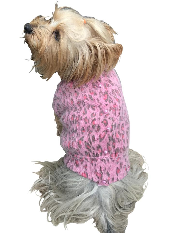 The Dog Squad Button Back Cardigan Sweater, Light Pink Leopard, Small