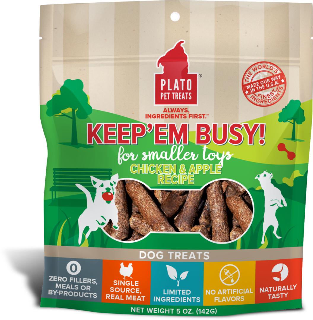 Plato Keep Em' Busy! Chicken & Apple Recipe Small Toy Stuffer Dog Treats, 5-oz