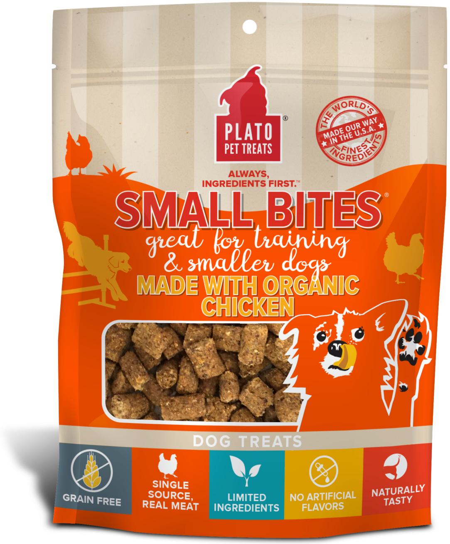 Plato Small Bites Organic Chicken Dog Treats, 6-oz