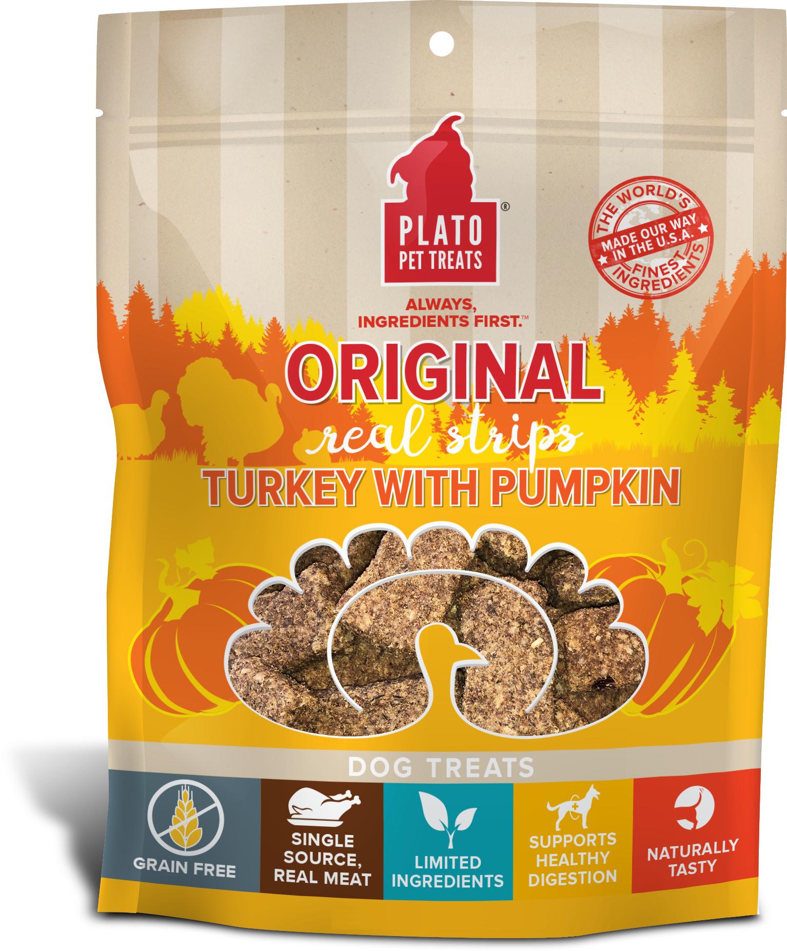 Plato Original Real Strips Turkey With Pumpkin Potato Dog Treat, 18-oz Size: 18-oz