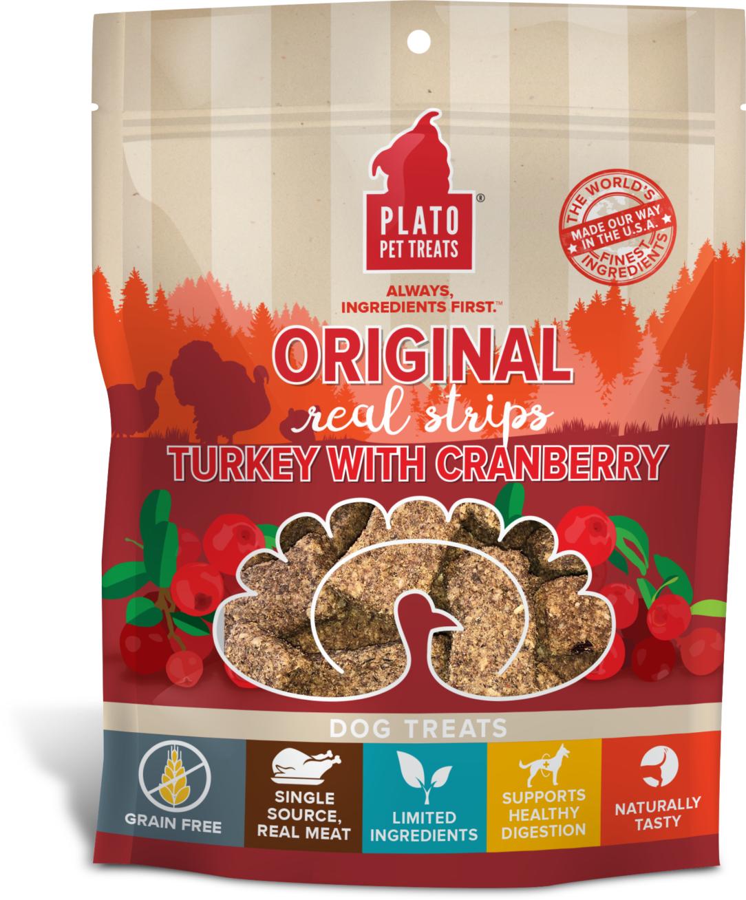 Plato Original Real Strips Turkey With Cranberry Dog Treat, 6-oz