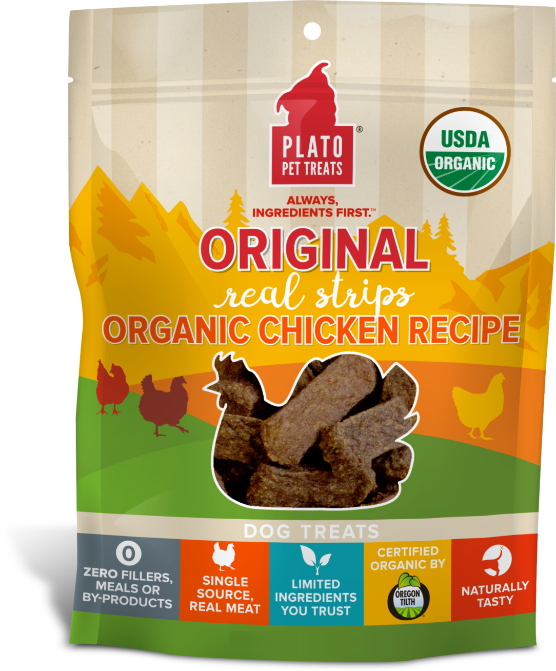 Plato Original Real Strips Organic Chicken Recipe Dog Treats, 18-oz