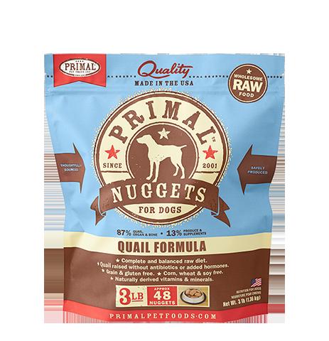 Primal Quail Formula Nuggets Grain-Free Raw Frozen Dog Food, 3lb