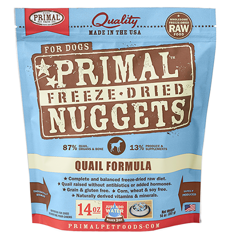 Primal Quail Formula Nuggets Grain-Free Raw Freeze-Dried Dog Food, 14-oz