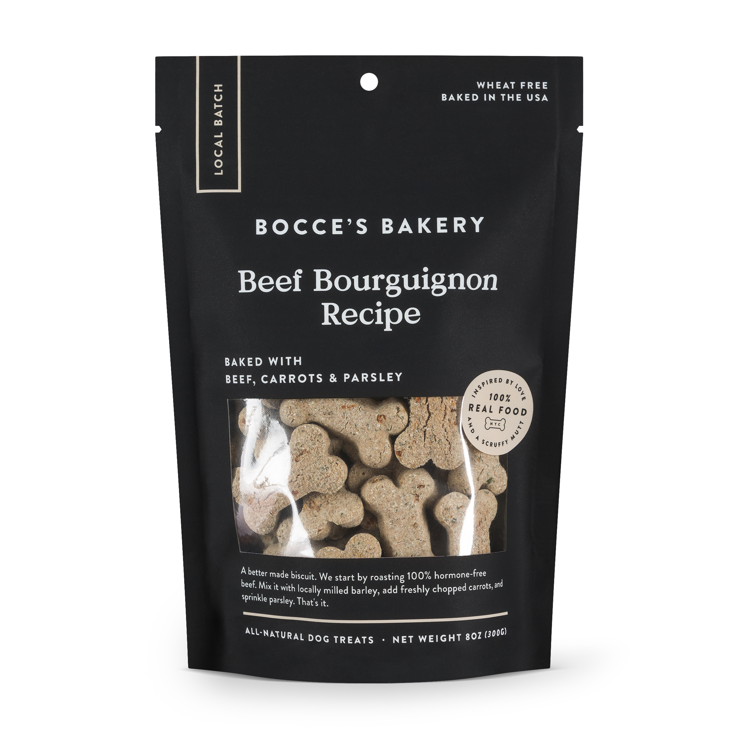 Bocce's Bakery Small Batch Beef Bourguignon Recipe Dog Biscuits, 8-oz