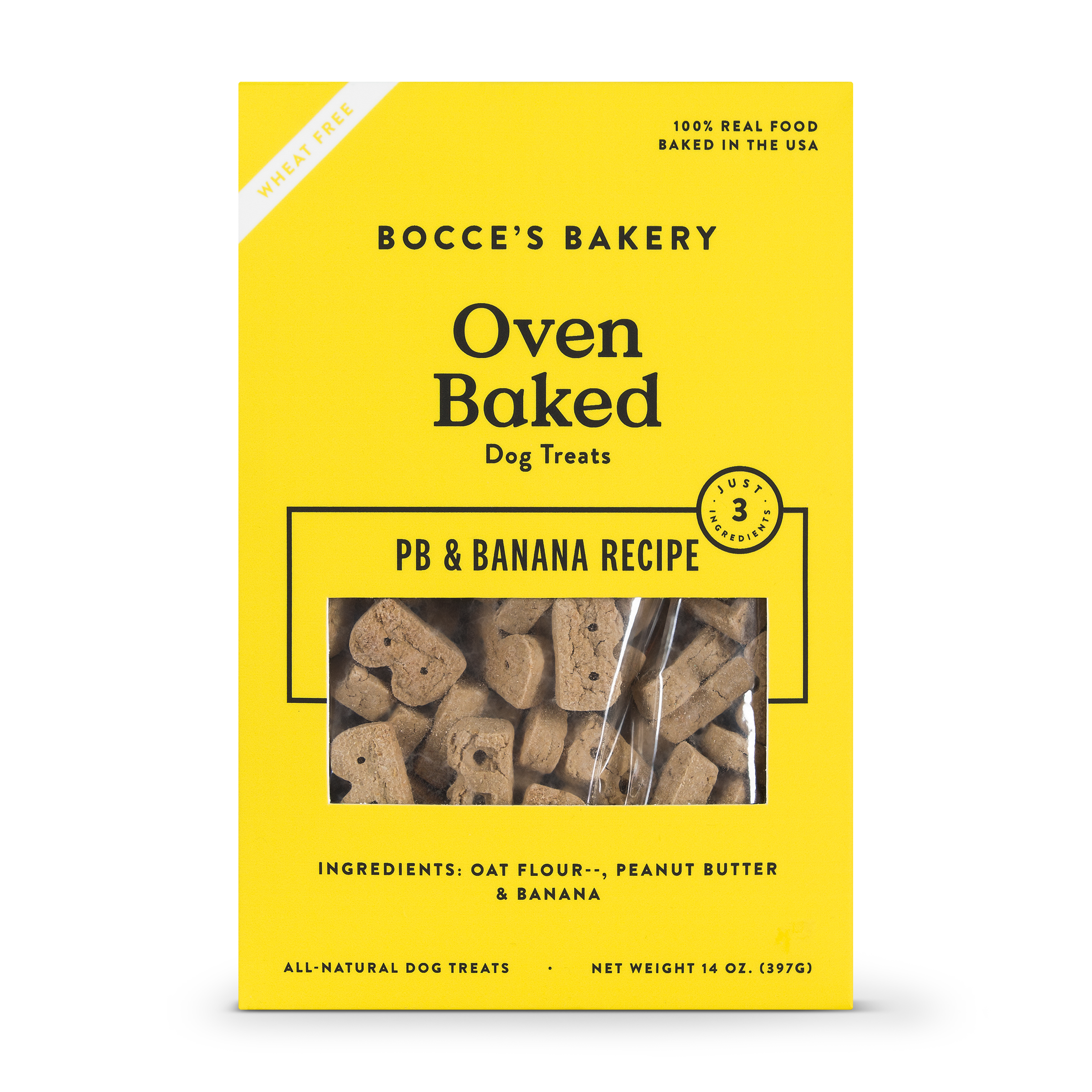 Bocce's Bakery Better Basics Peanut Butter and Banana Dog Biscuits, 14-oz