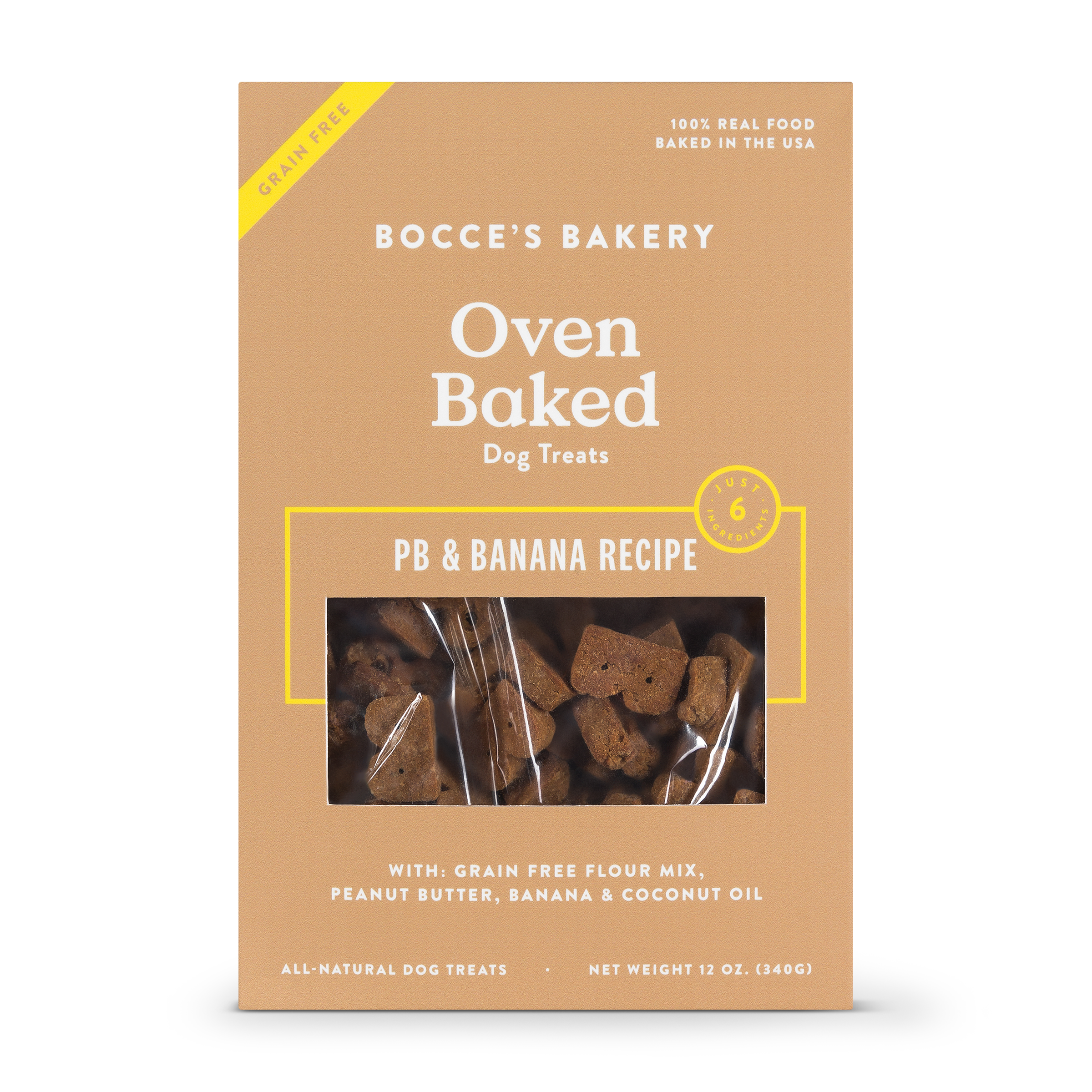 Bocce's Bakery Better Basics Grain-Free Peanut Butter and Banana Dog Biscuits, 12-oz