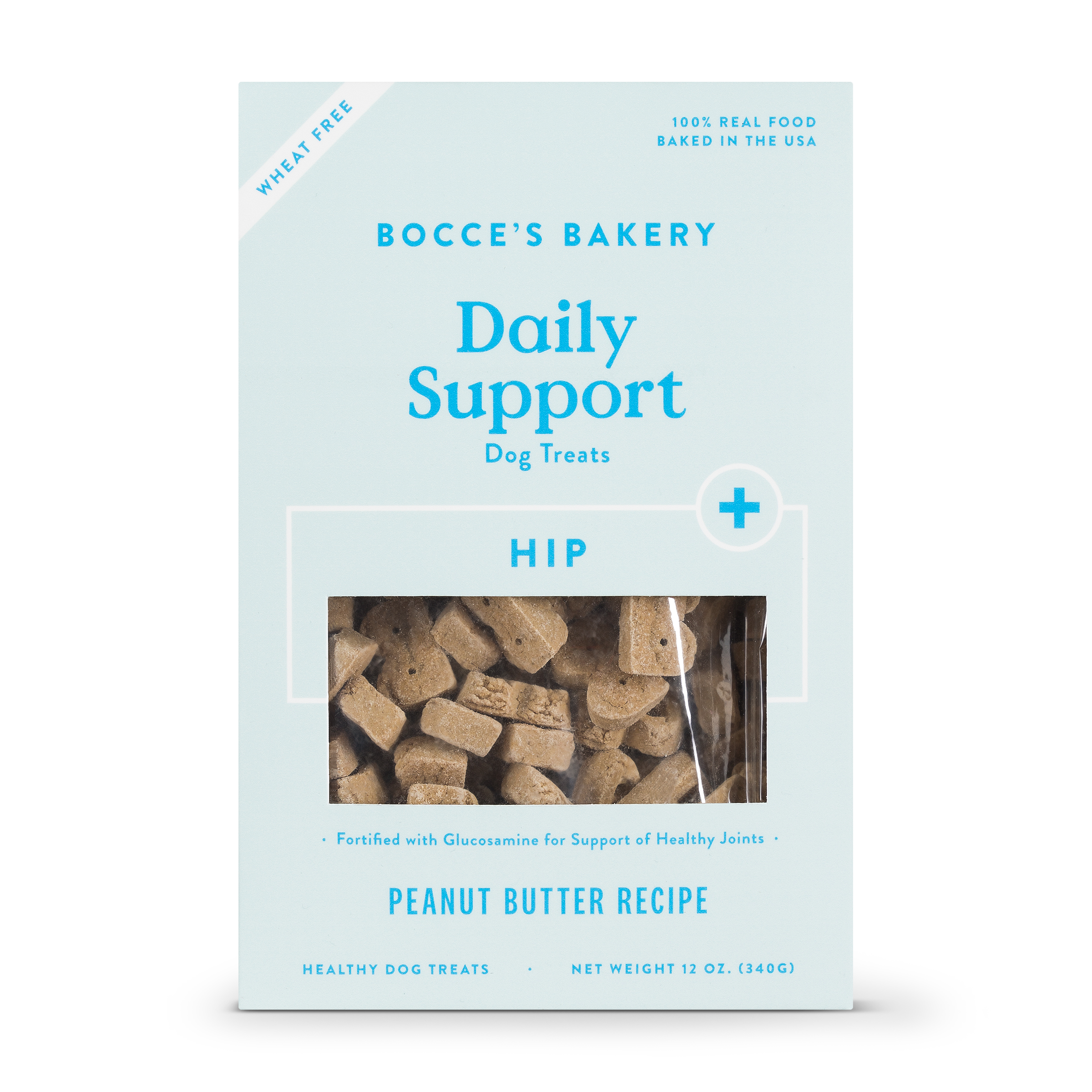 Bocce's Bakery Daily Support Hip Aid Peanut Butter Dog Treat, 12-oz