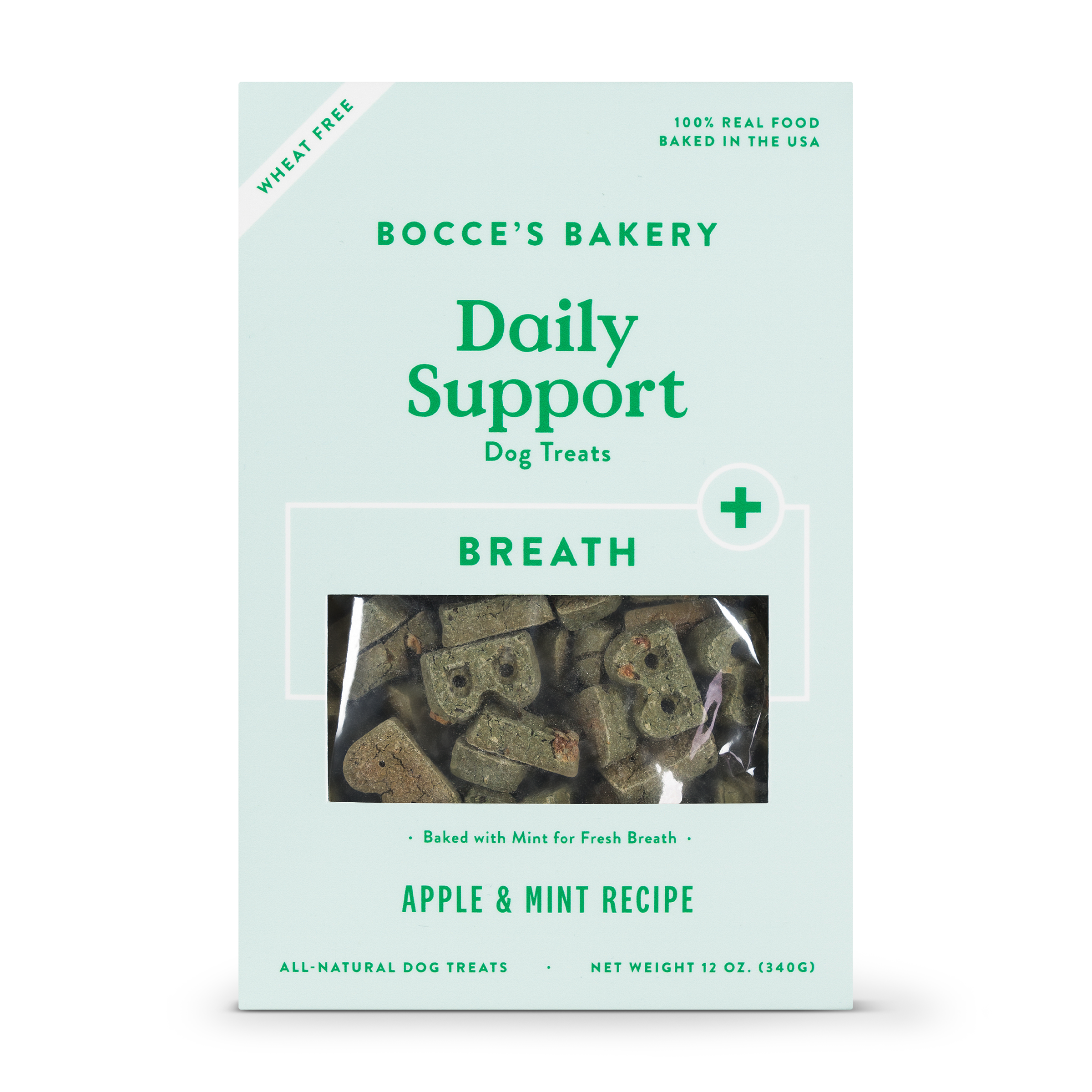 Bocce's Bakery Daily Support Breath Aid Apple & Mint Dog Treat, 12-oz