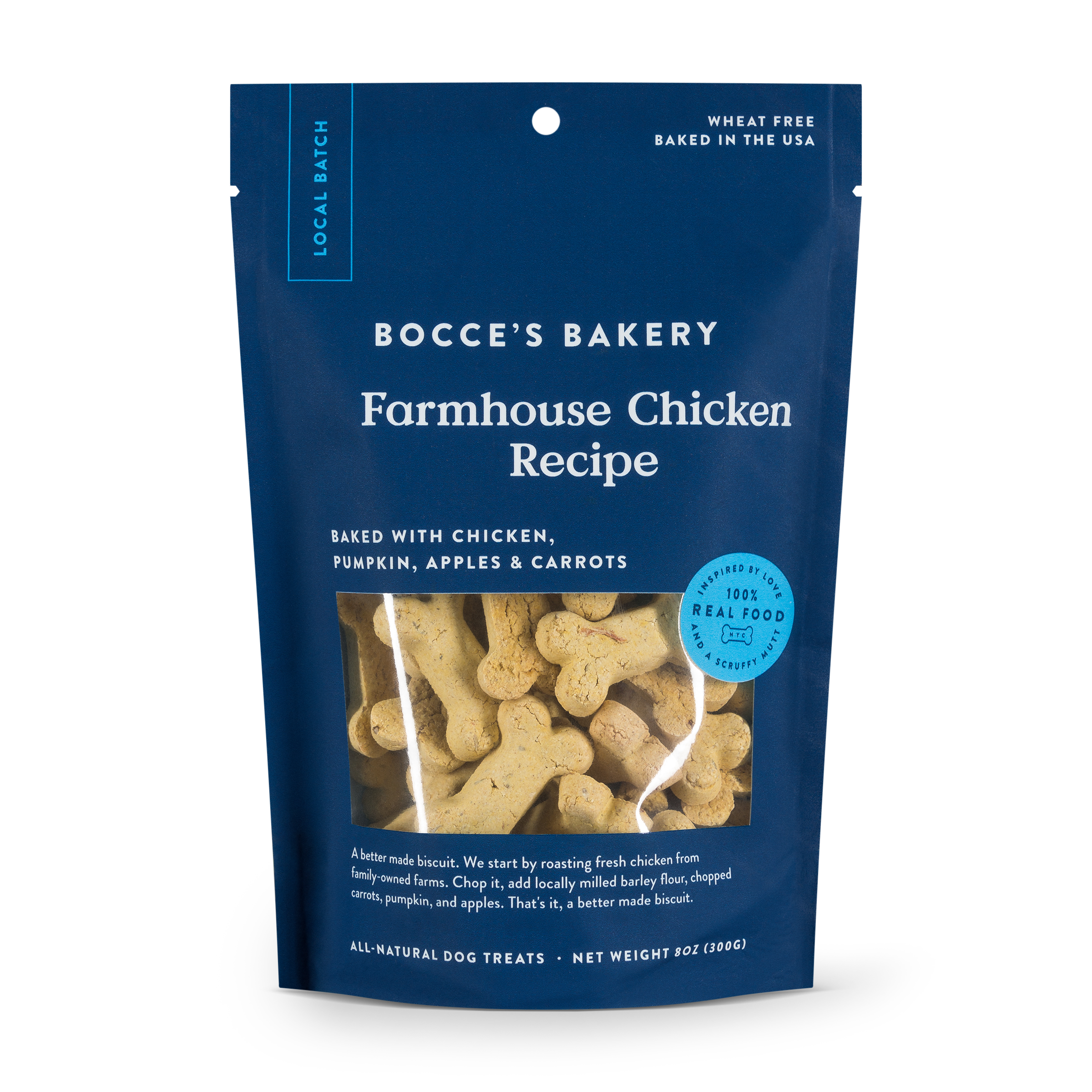 Bocce's Bakery Small Batch Farmhouse Chicken Recipe Biscuit Dog Treats, 8-oz