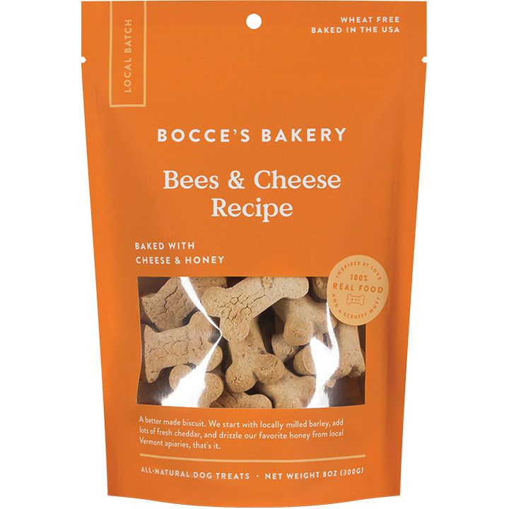 Bocce's Bakery Small Batch Bees & Cheese Recipe Dog Biscuits, 8-oz
