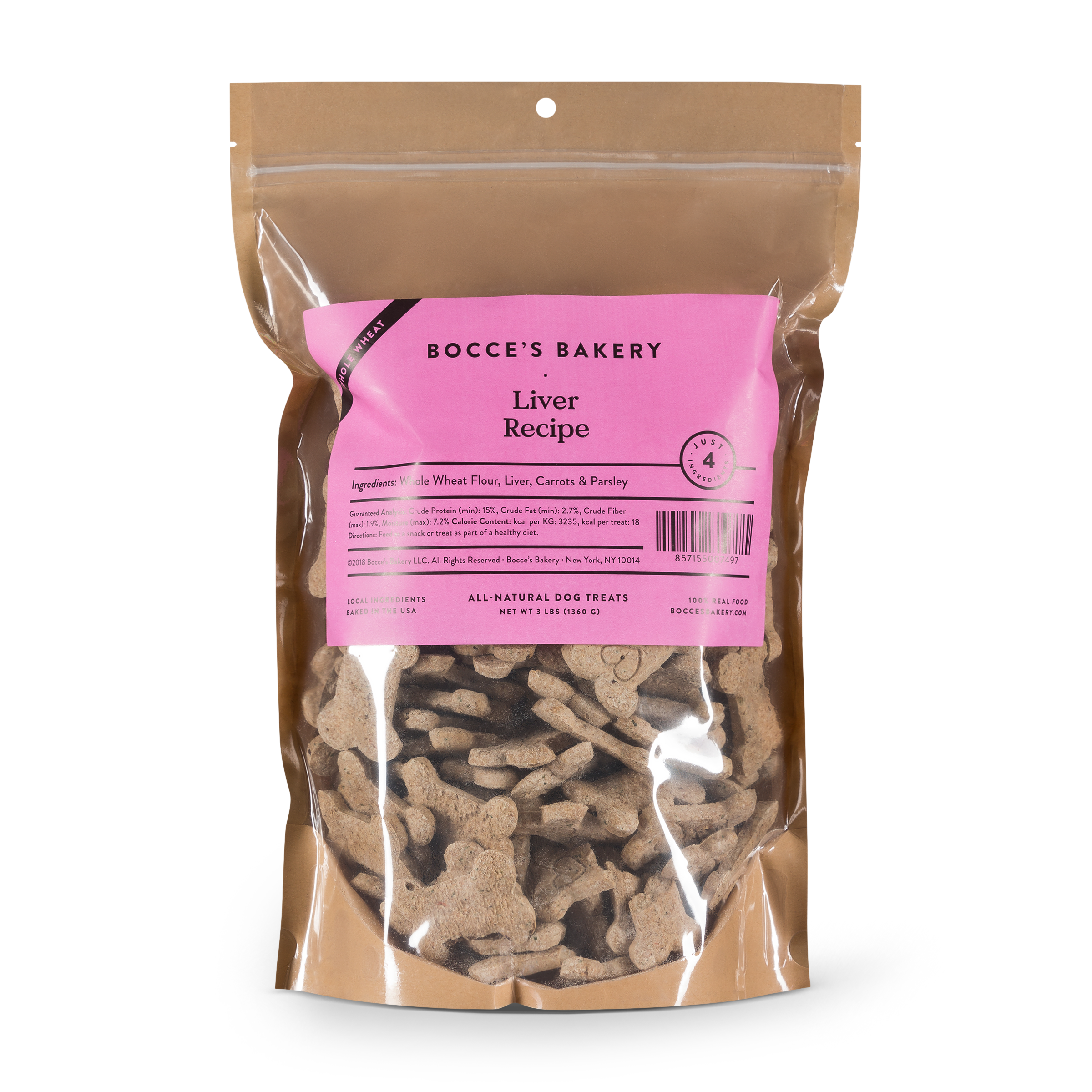 Bocce's Bakery Whole Wheat Bulk Liver Recipe Biscuit Dog Treats, 3-lb