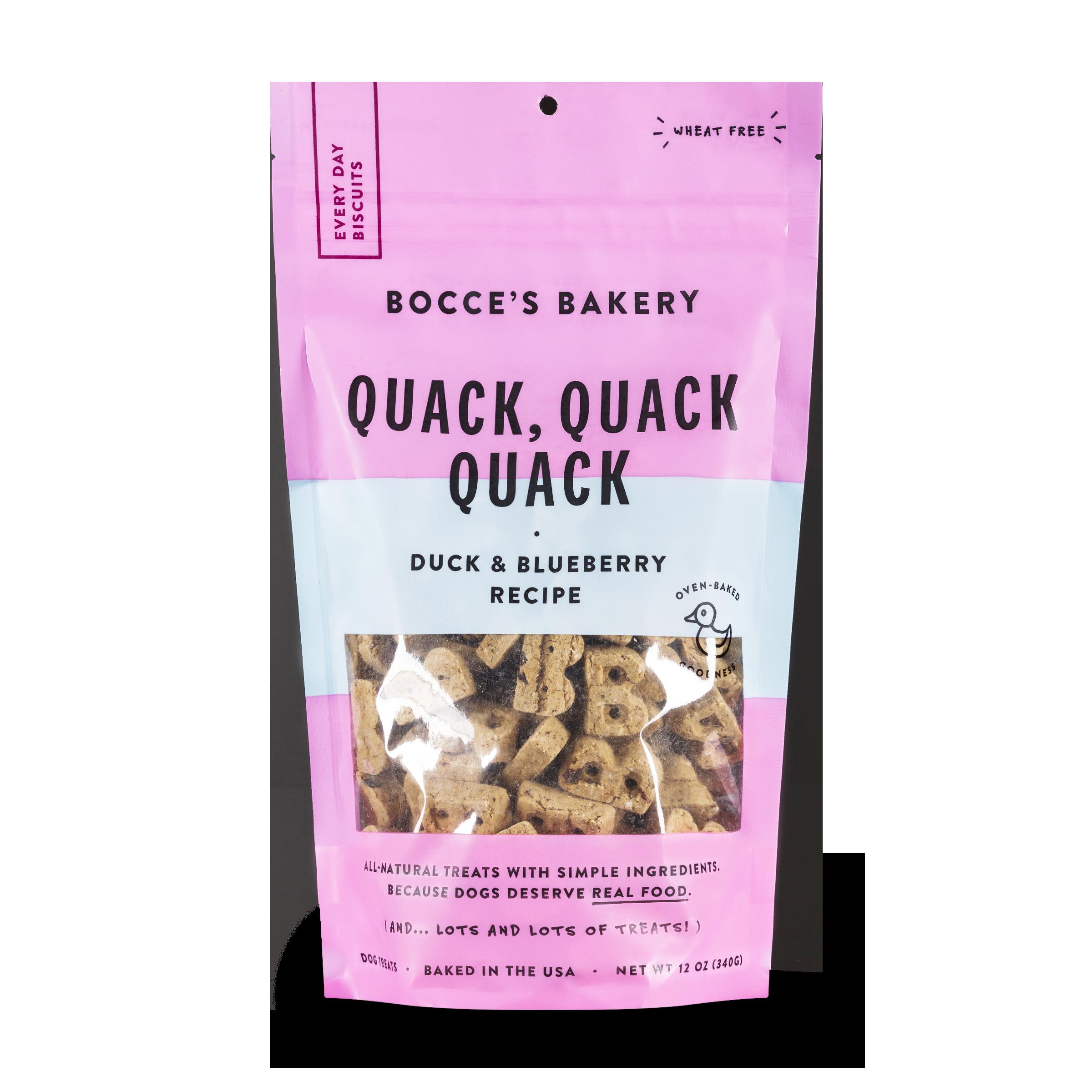 Bocce's Bakery Everyday Quack, Quack, Quack Duck & Blueberries Recipe Biscuit Dog Treats, 12-oz