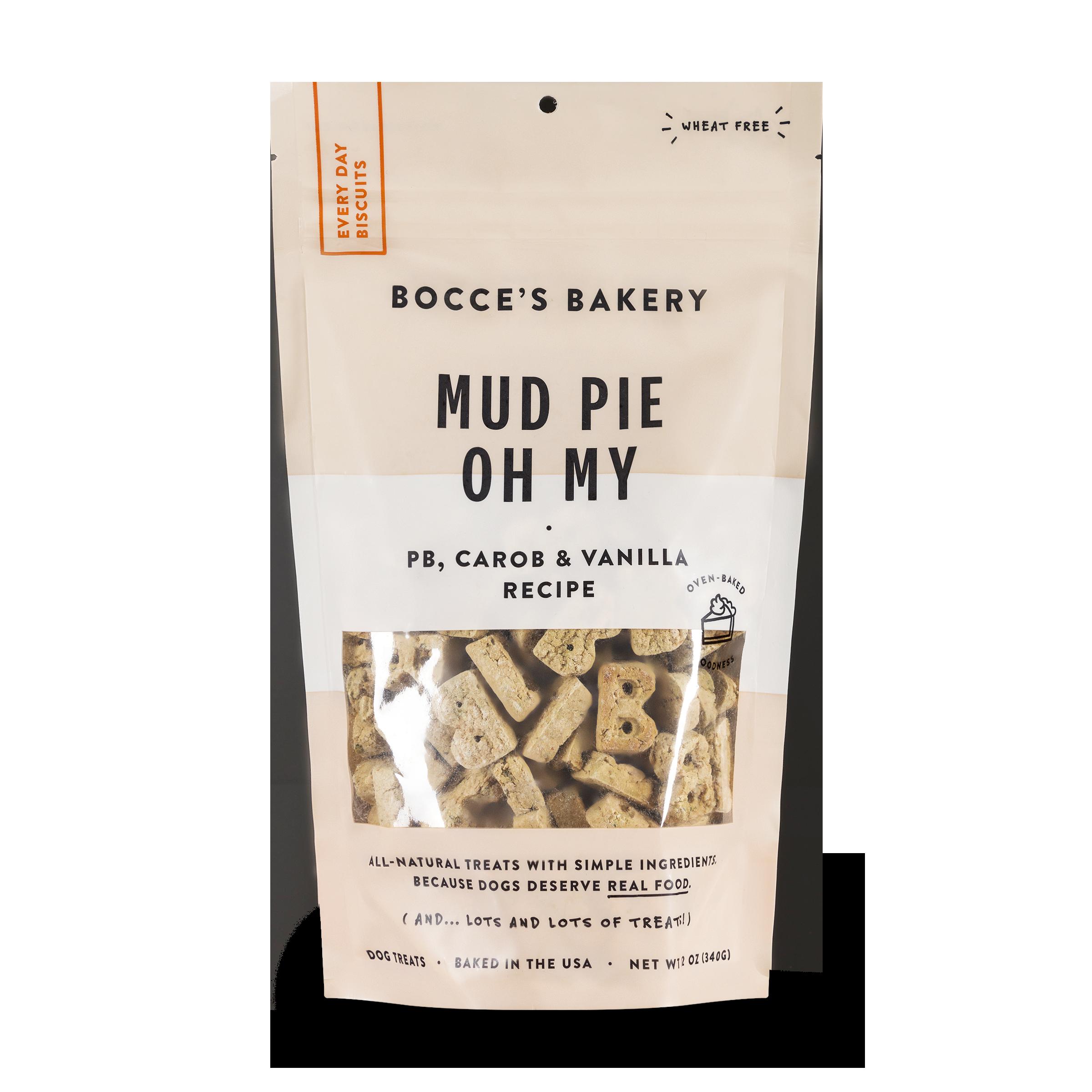 Bocce's Bakery Everyday Mud Pie Oh My Peanut Butter, Carob & Vanilla Recipe Biscuit Dog Treats, 12-oz