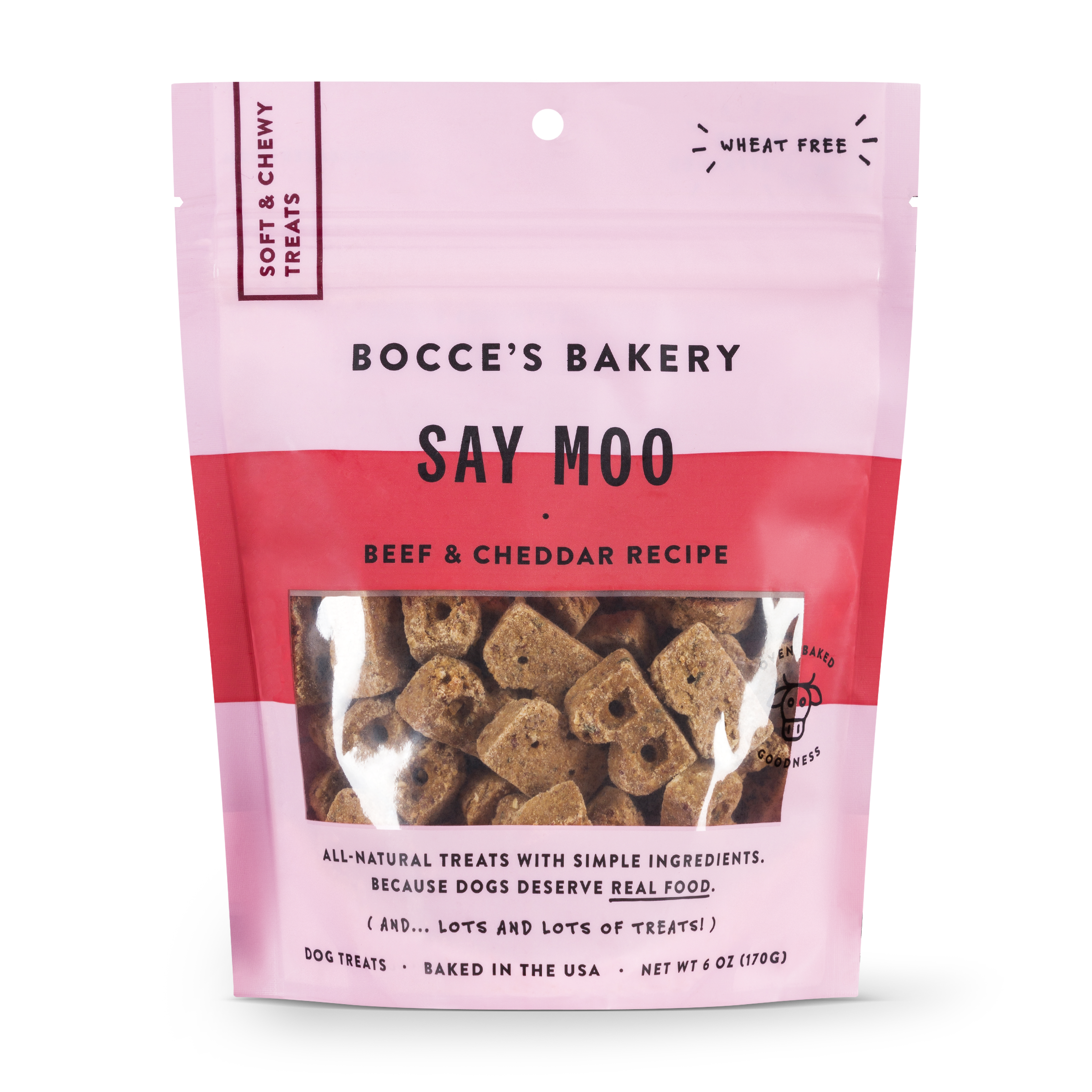 Bocce's Bakery Everyday Say Moo Beef & Cheddar Recipe Soft & Chewy Dog Treats, 6-oz