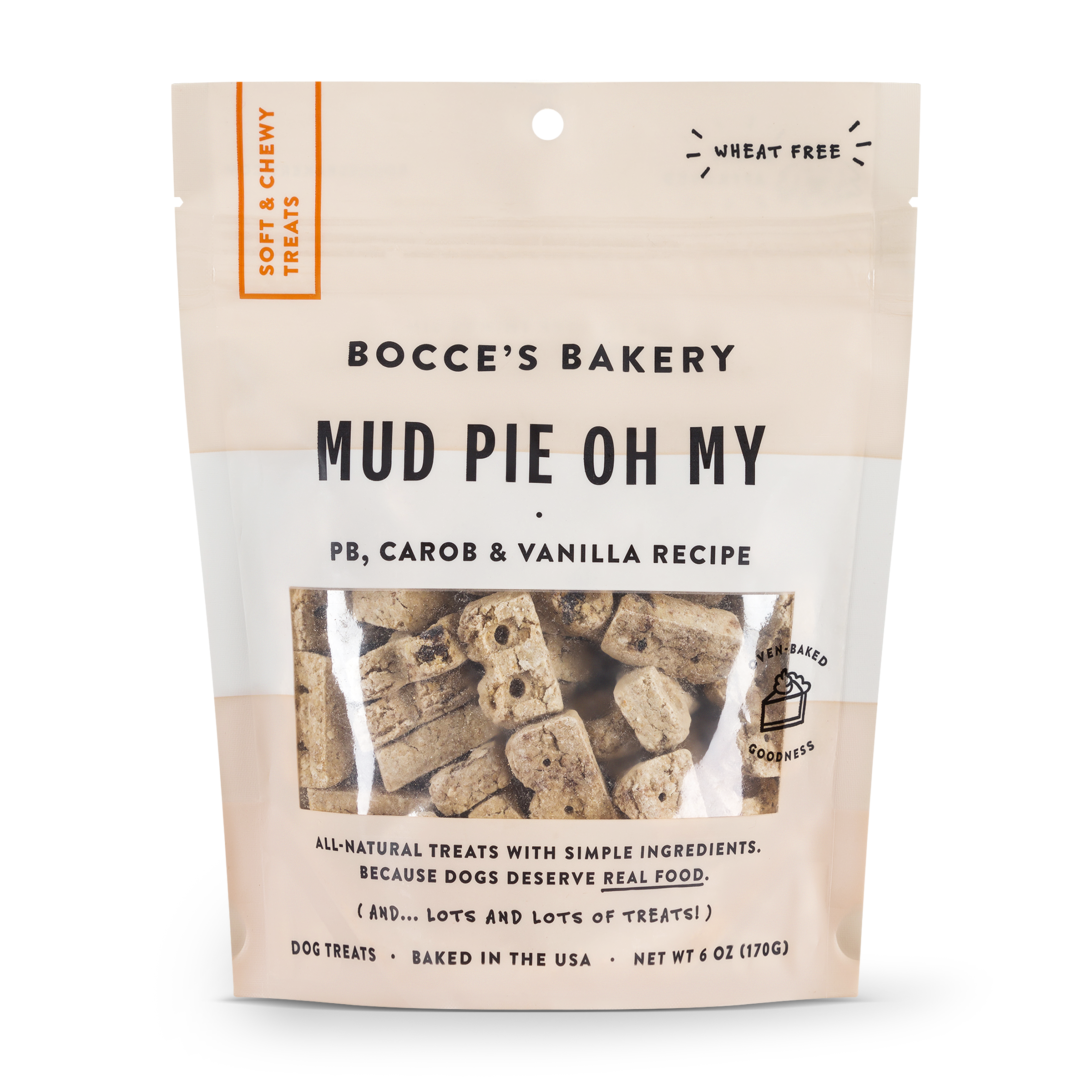 Bocce's Bakery Everyday Mud Pie Oh My Peanut Butter, Carob & Vanilla Recipe Soft & Chewy Dog Treats, 6-oz