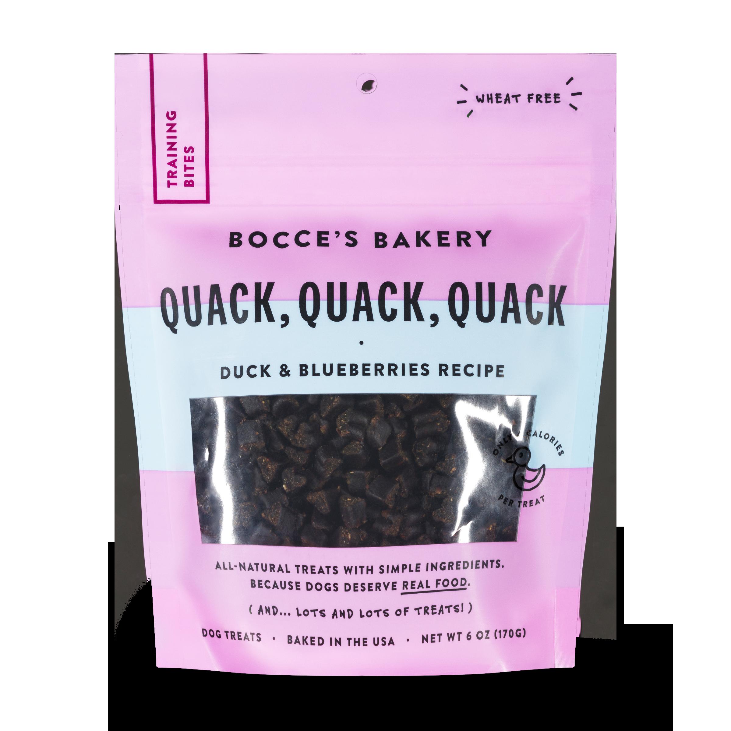 Bocce's Bakery Everyday Quack, Quack, Quack Duck & Blueberries Recipe Training Bites Dog Treats, 6-oz
