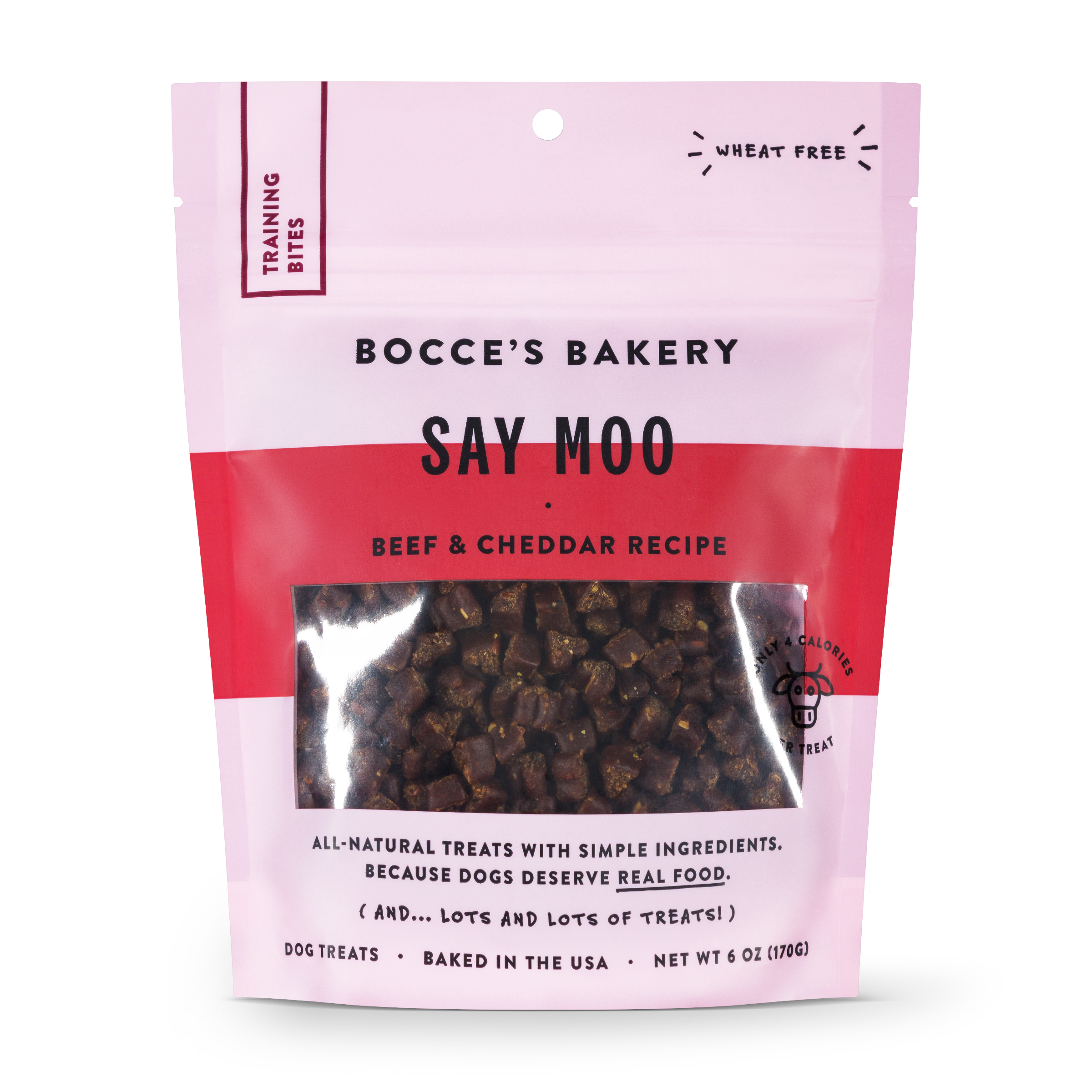 Bocce's Bakery Everyday Say Moo Beef & Cheddar Recipe Training Bites Dog Treats, 6-oz