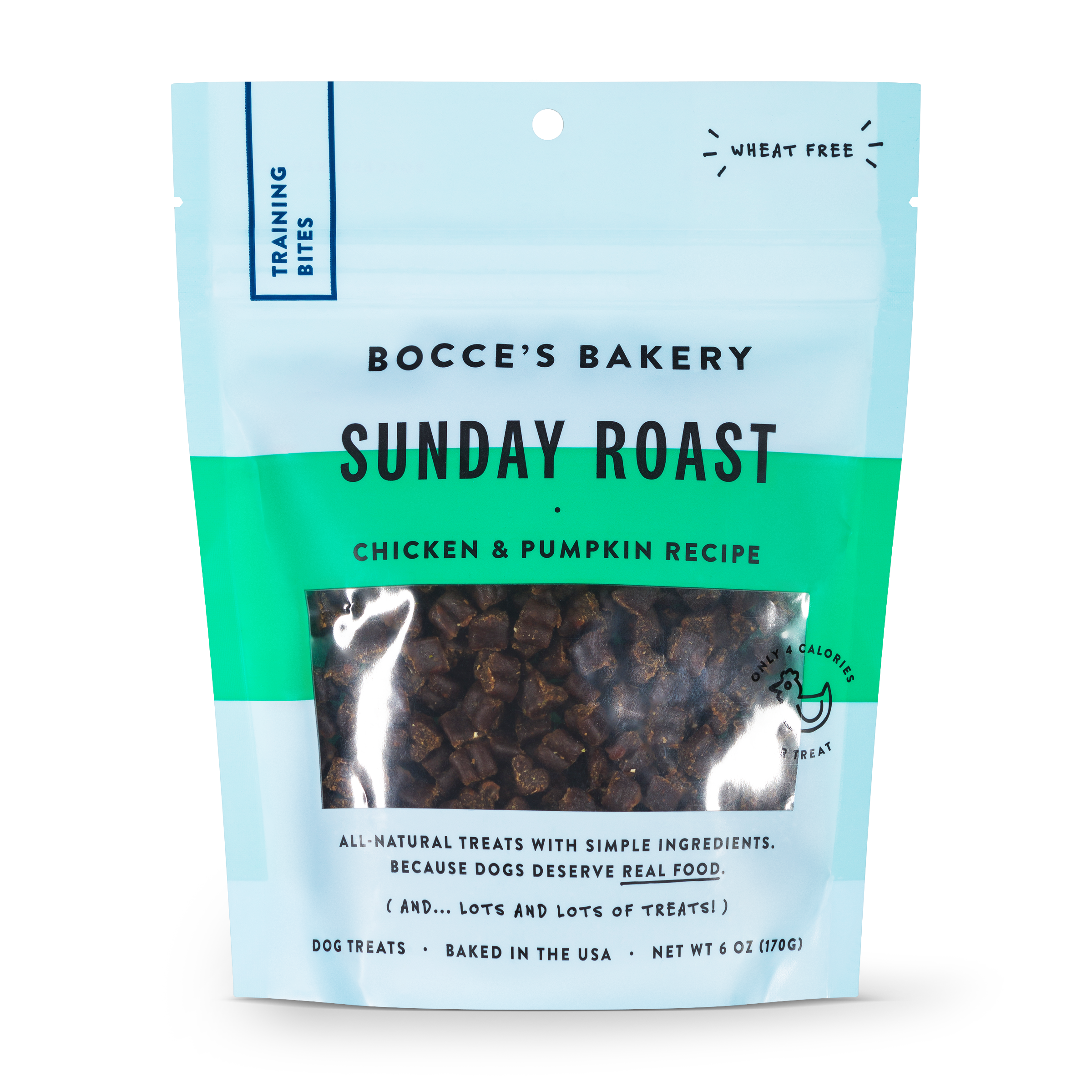 Bocce's Bakery Everyday Sunday Roast Chicken & Pumpkin Recipe Training Bites Dog Treats, 6-oz