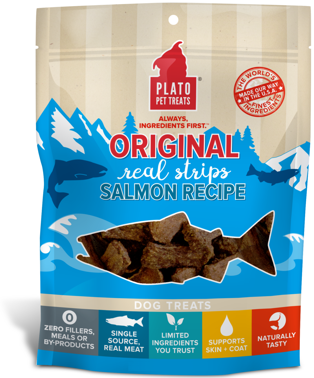 Plato Original Real Strips Salmon Recipe Dog Treats, 18-oz