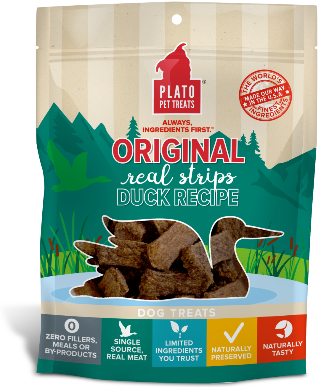 Plato Original Real Strips Duck Recipe Dog Treats, 18-oz