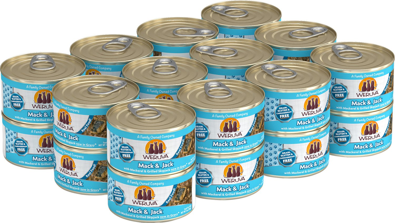Weruva Cat Classic Mack and Jack with Mackerel & Grilled Skipjack Grain-Free Wet Cat Food, 3-oz, case of 24