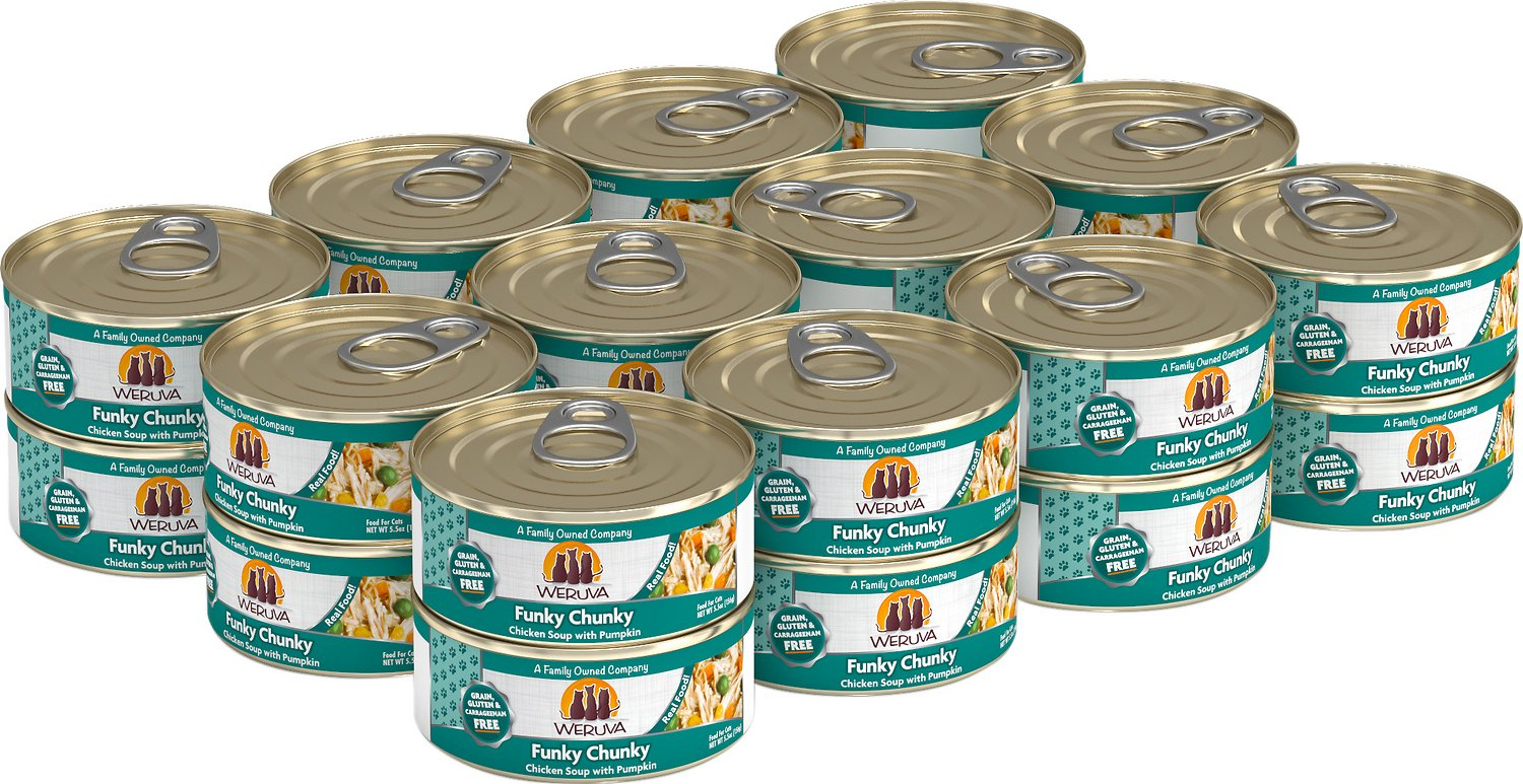 Weruva Cat Classic Funky Chunky Chicken Soup with Pumpkin Grain-Free Wet Cat Food, 5.5-oz, case of 24