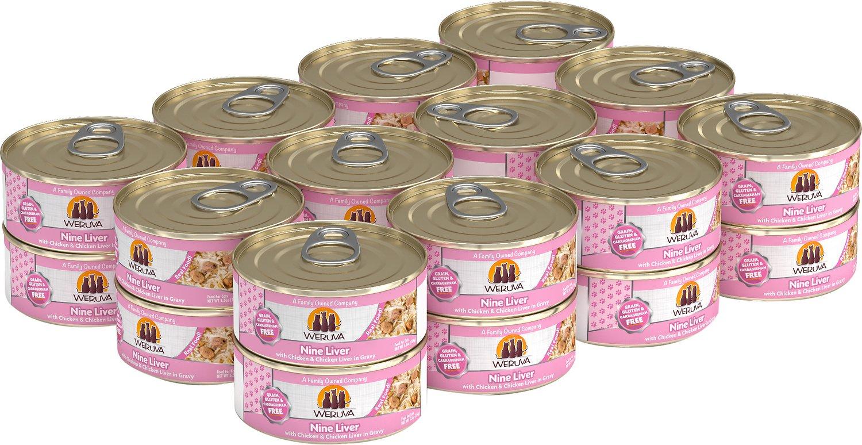 Weruva Cat Classic Nine Liver with Chicken & Chicken Liver in Gravy Grain-Free Wet Cat Food, 5.5-oz, case of 24