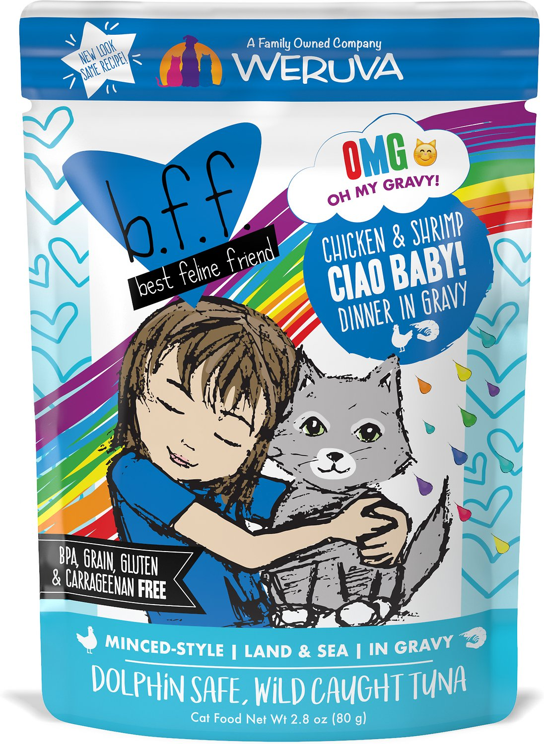 BFF Oh My Gravy! Ciao Baby! Chicken & Shrimp Dinner in Gravy Grain-Free Wet Cat Food, 2.8-oz