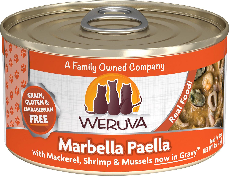 Weruva Cat Classic Marbella Paella with Mackerel, Shrimp & Mussels Grain-Free Wet Cat Food, 3-oz