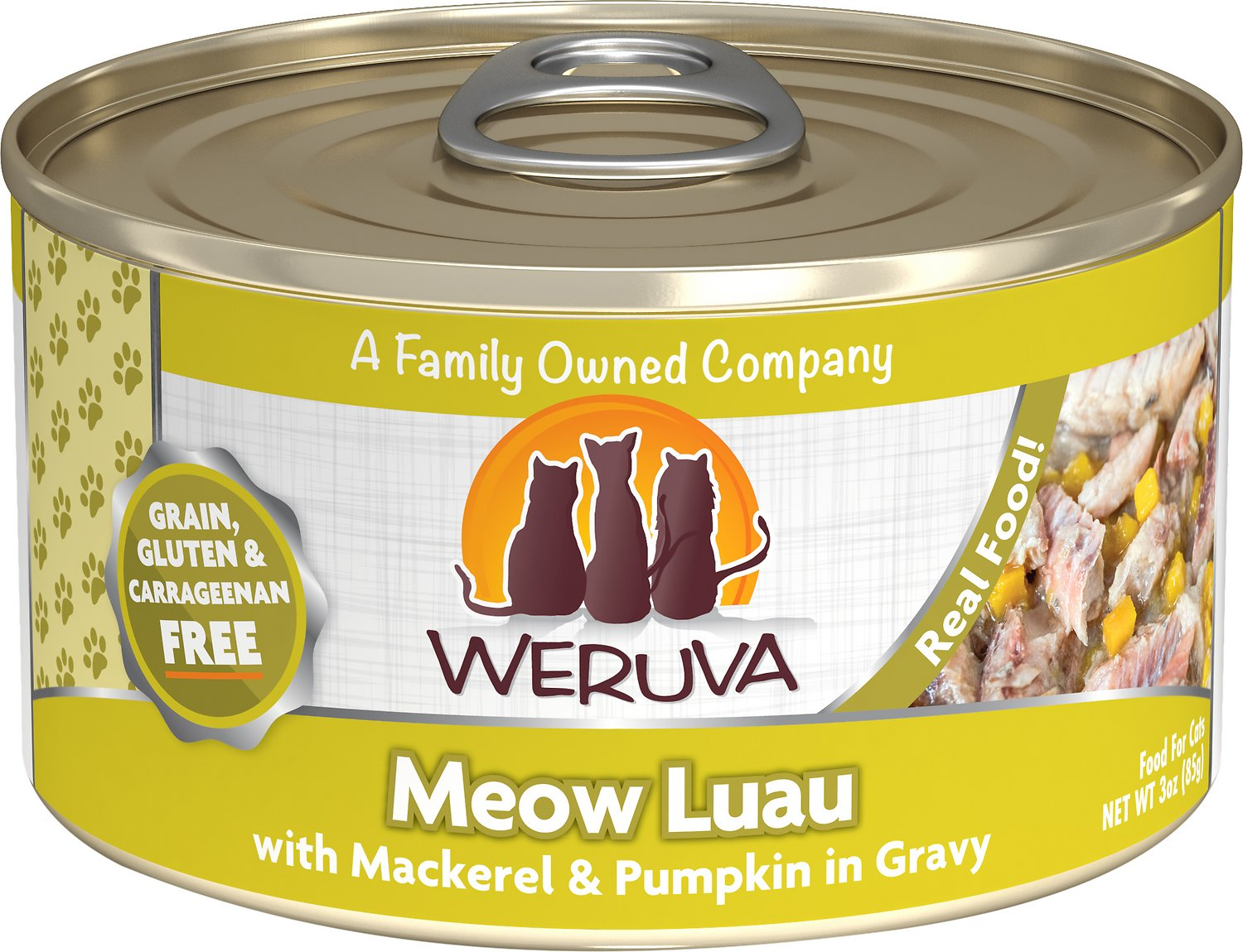Weruva Cat Classic Meow Luau with Mackerel & Pumpkin Grain-Free Wet Cat Food, 3-oz