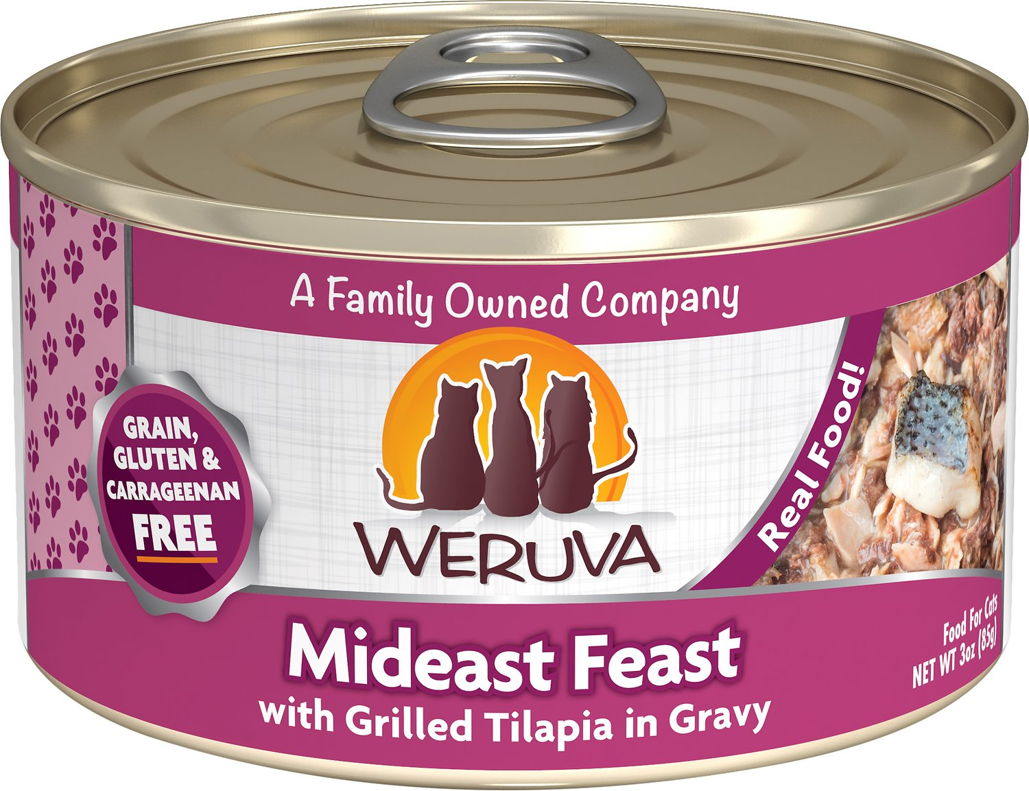 Weruva Cat Classic Mideast Feast with Grilled Tilapia in Gravy Grain-Free Wet Cat Food, 3-oz