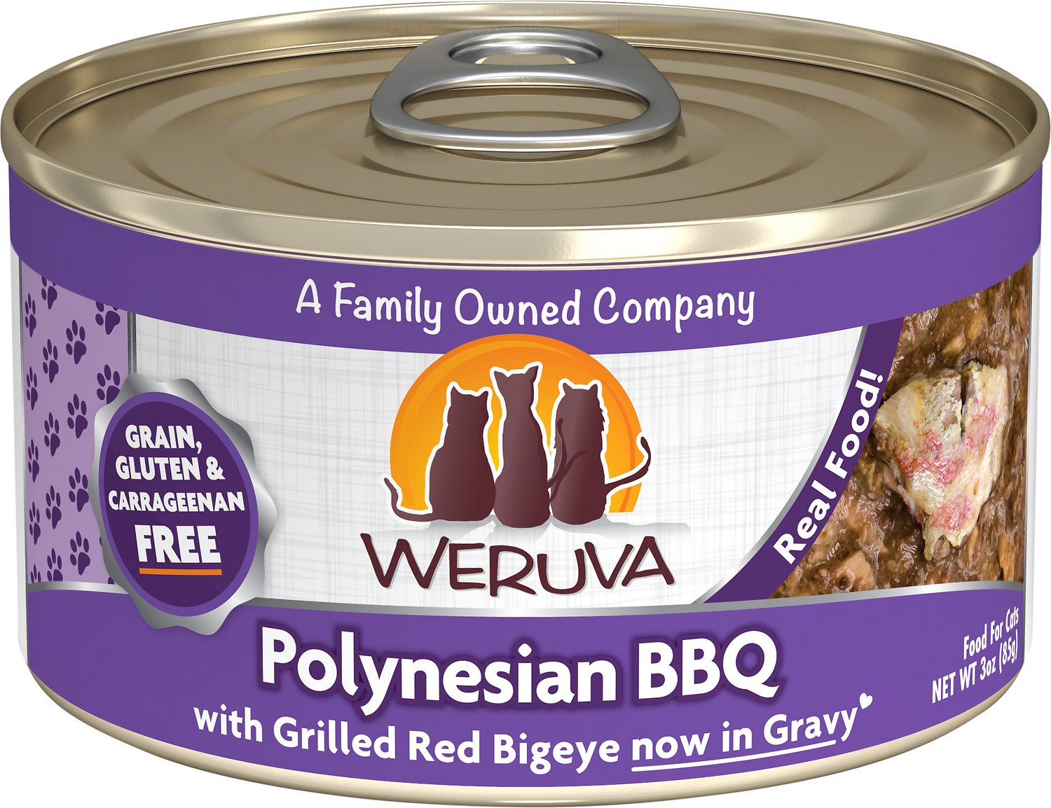 Weruva Cat Classic Polynesian BBQ with Grilled Red Bigeye Grain-Free Wet Cat Food, 3-oz