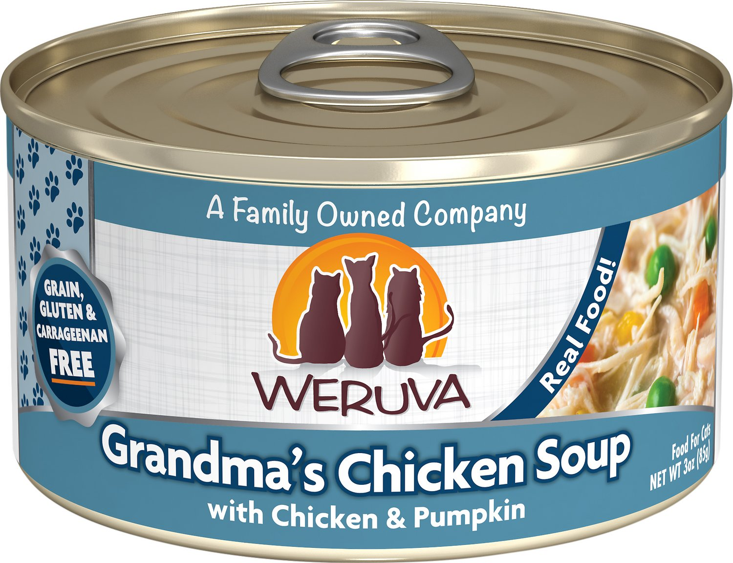 Weruva Cat Classic Grandma's Chicken Soup with Chicken & Pumpkin Grain-Free Wet Cat Food, 3-oz