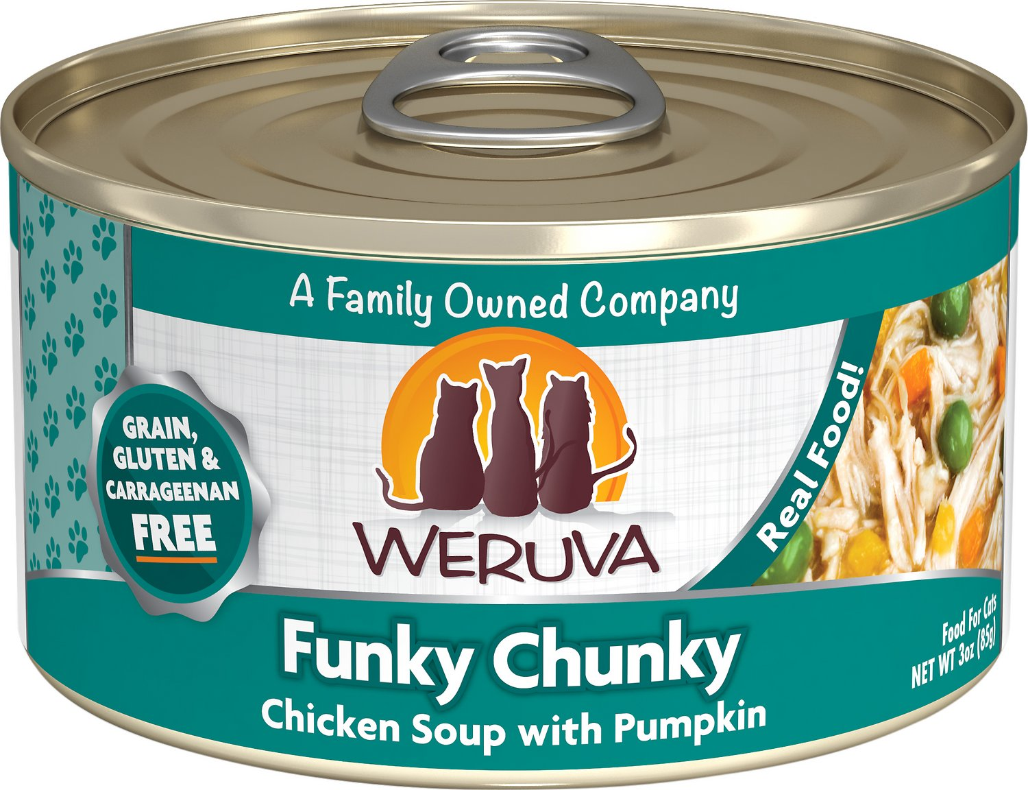Weruva Cat Classic Funky Chunky Chicken Soup with Pumpkin Grain-Free Wet Cat Food, 3-oz