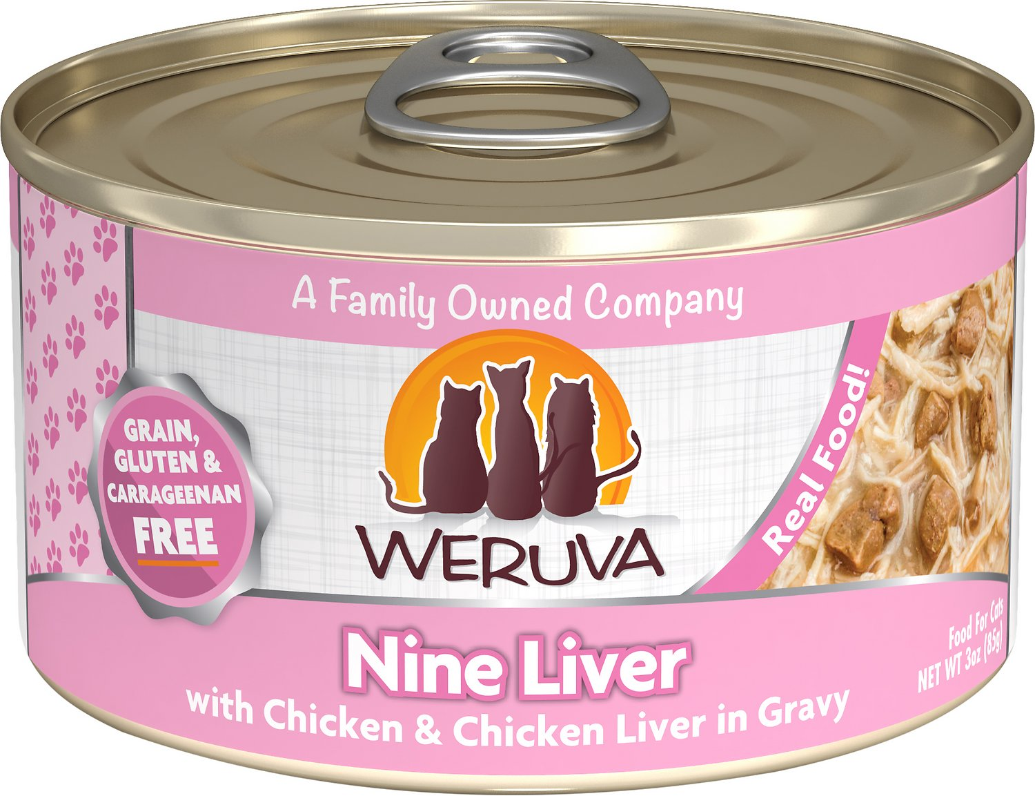 Weruva Cat Classic Nine Liver with Chicken & Chicken Liver in Gravy Grain-Free Wet Cat Food, 3-oz Size: 3-oz