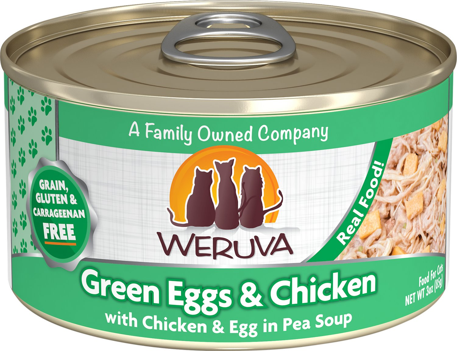 Weruva Cat Classic Green Eggs & Chicken with Chicken, Egg & Greens in Gravy Grain-Free Wet Cat Food, 3-oz