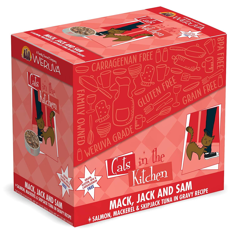 Weruva Cats in the Kitchen Mack, Jack & Sam Salmon, Mackerel & Skip Jack Tuna in Gravy Recipe Grain-Free Wet Cat Food, 3-oz pouch, case of 12