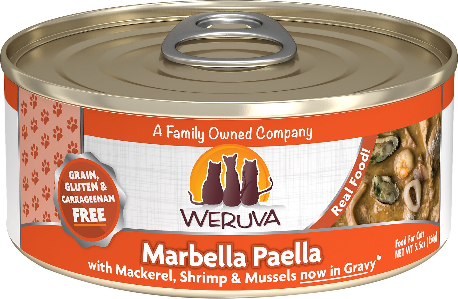 Weruva Cat Classic Marbella Paella with Mackerel, Shrimp & Mussels Grain-Free Wet Cat Food, 5.5-oz