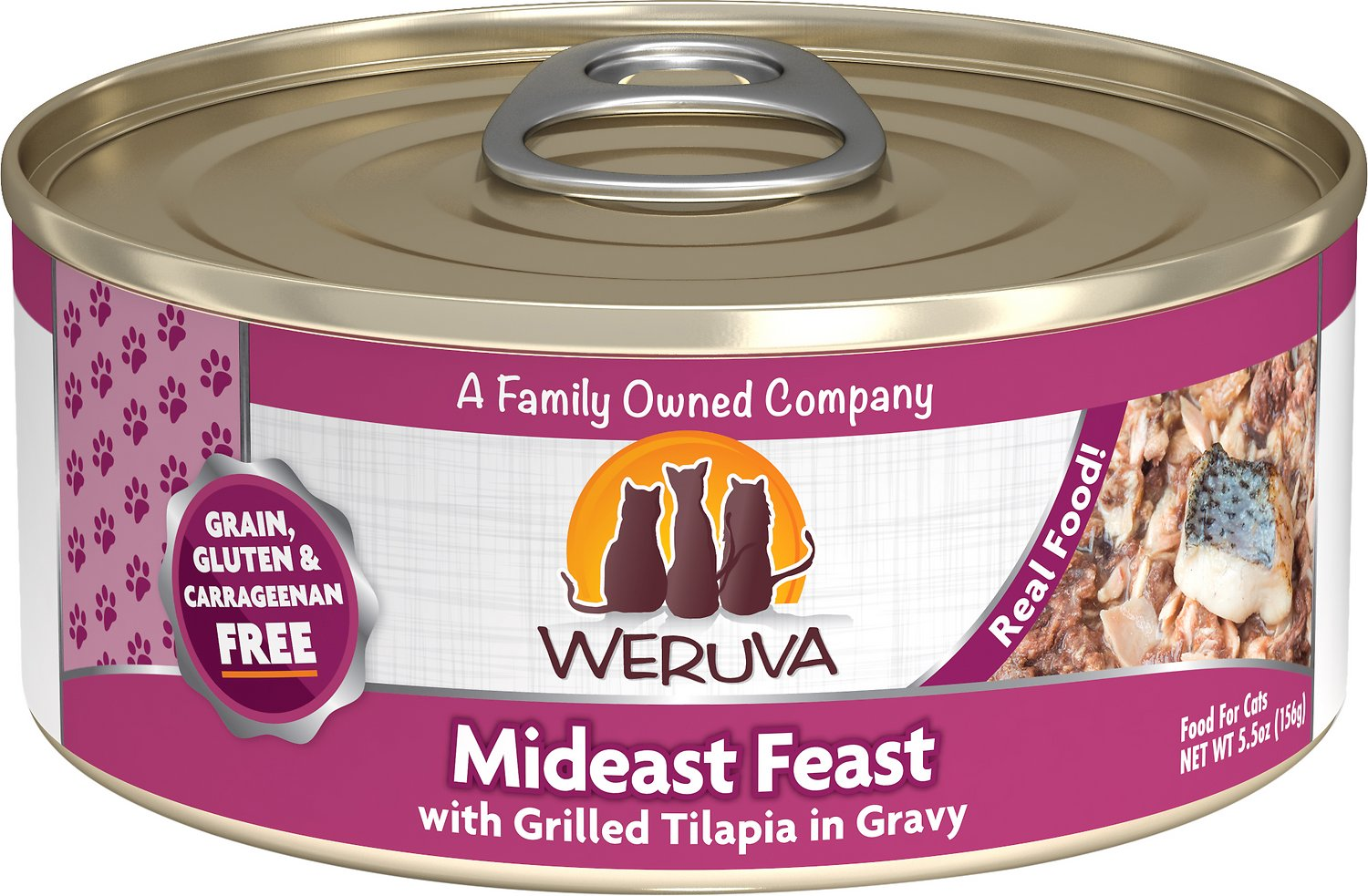 Weruva Cat Classic Mideast Feast with Grilled Tilapia in Gravy Grain-Free Wet Cat Food, 5.5-oz