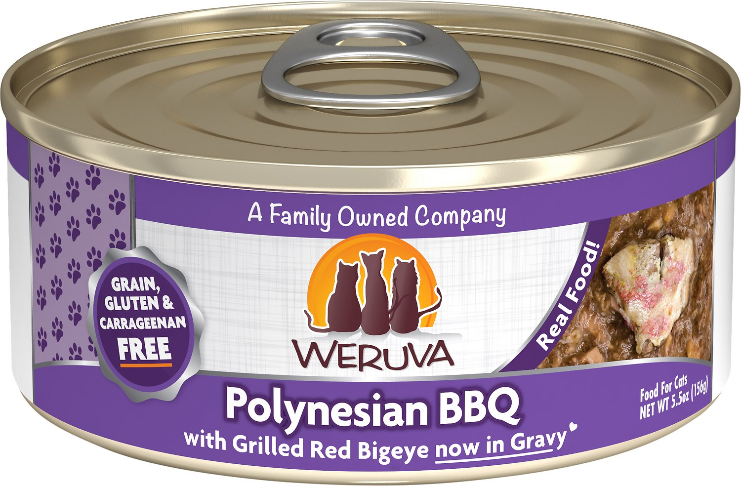 Weruva Cat Classic Polynesian BBQ with Grilled Red Bigeye Grain-Free Wet Cat Food, 5.5-oz