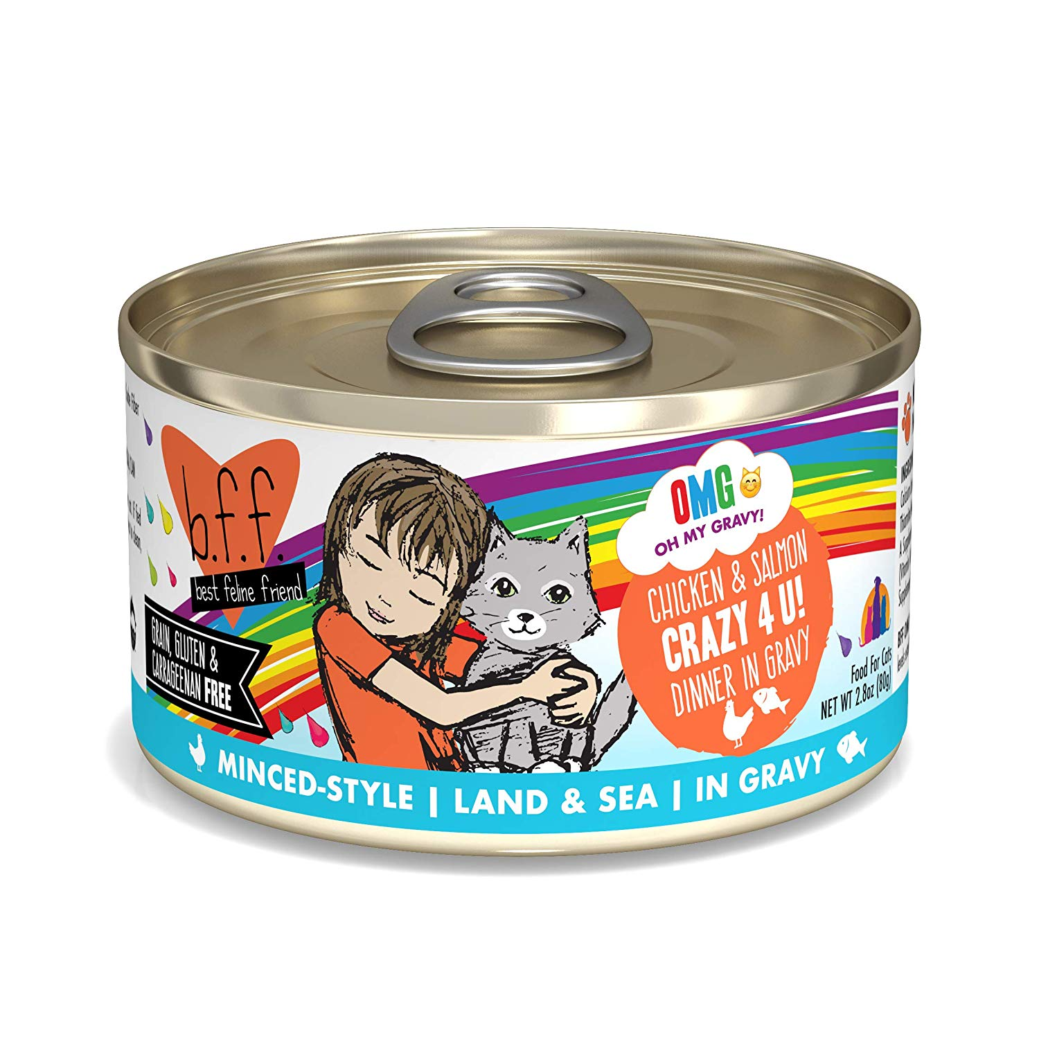 BFF Oh My Gravy! Crazy 4 U! Chicken & Salmon Dinner in Gravy Grain-Free Wet Cat Food, 2.8-oz