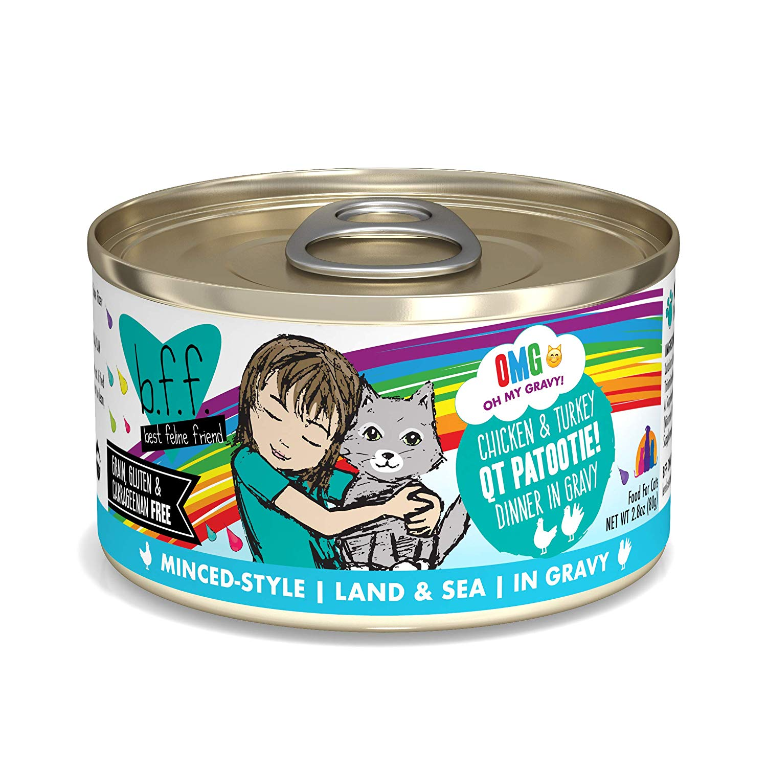 BFF Oh My Gravy! QT Patootie! Chicken & Turkey Dinner in Gravy Grain-Free Wet Cat Food, 2.8-oz