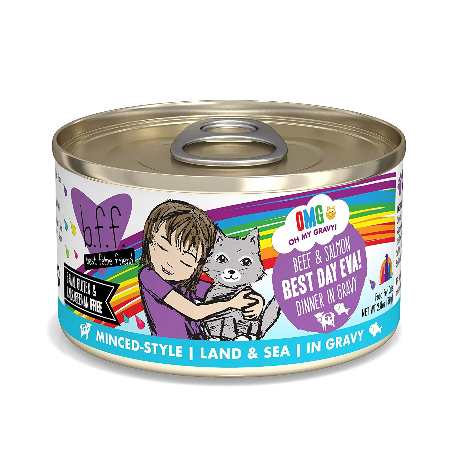 BFF Oh My Gravy! Best Day Eva! Beef & Salmon Dinner in Gravy Grain-Free Wet Cat Food, 2.8-oz Size: 2.8-oz